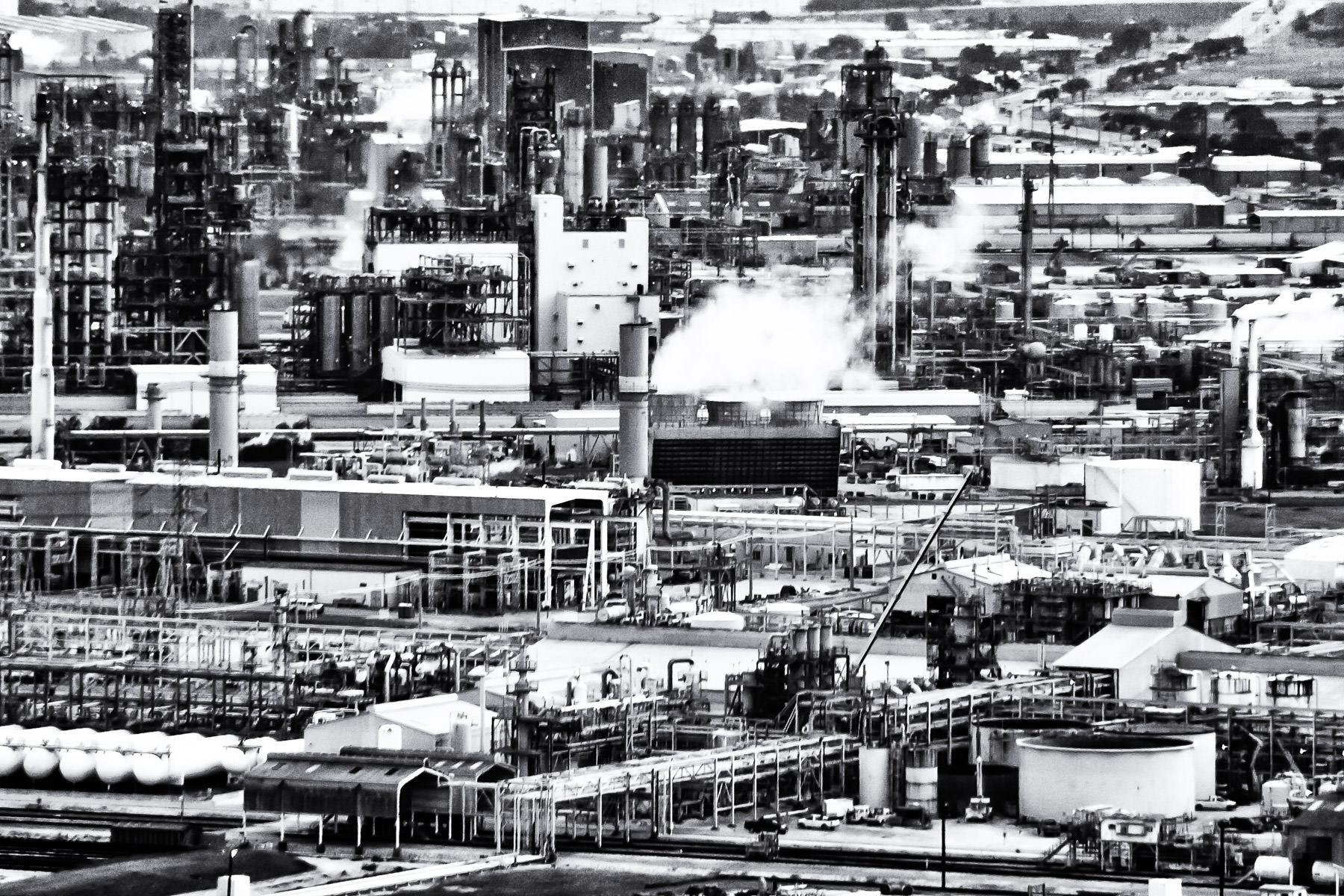 Refineries and chemical plants along the Houston Ship Channel near La Porte, Texas.