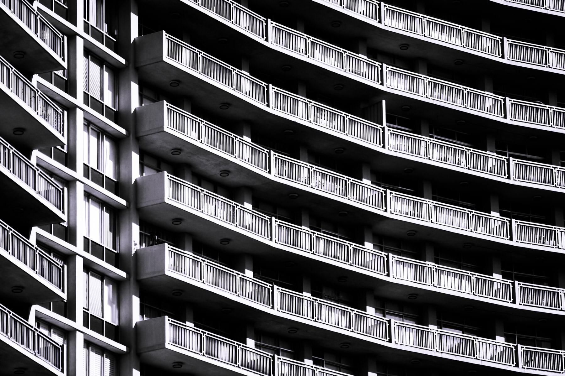 Balconies on a high rise condo tower in North Dallas, Texas.