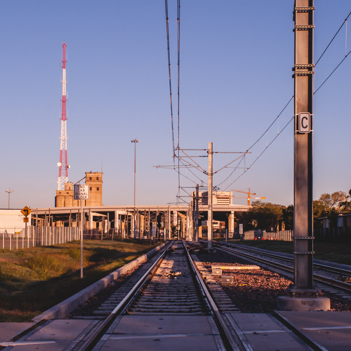 DART rail tracks near Fair Park in Dallas.