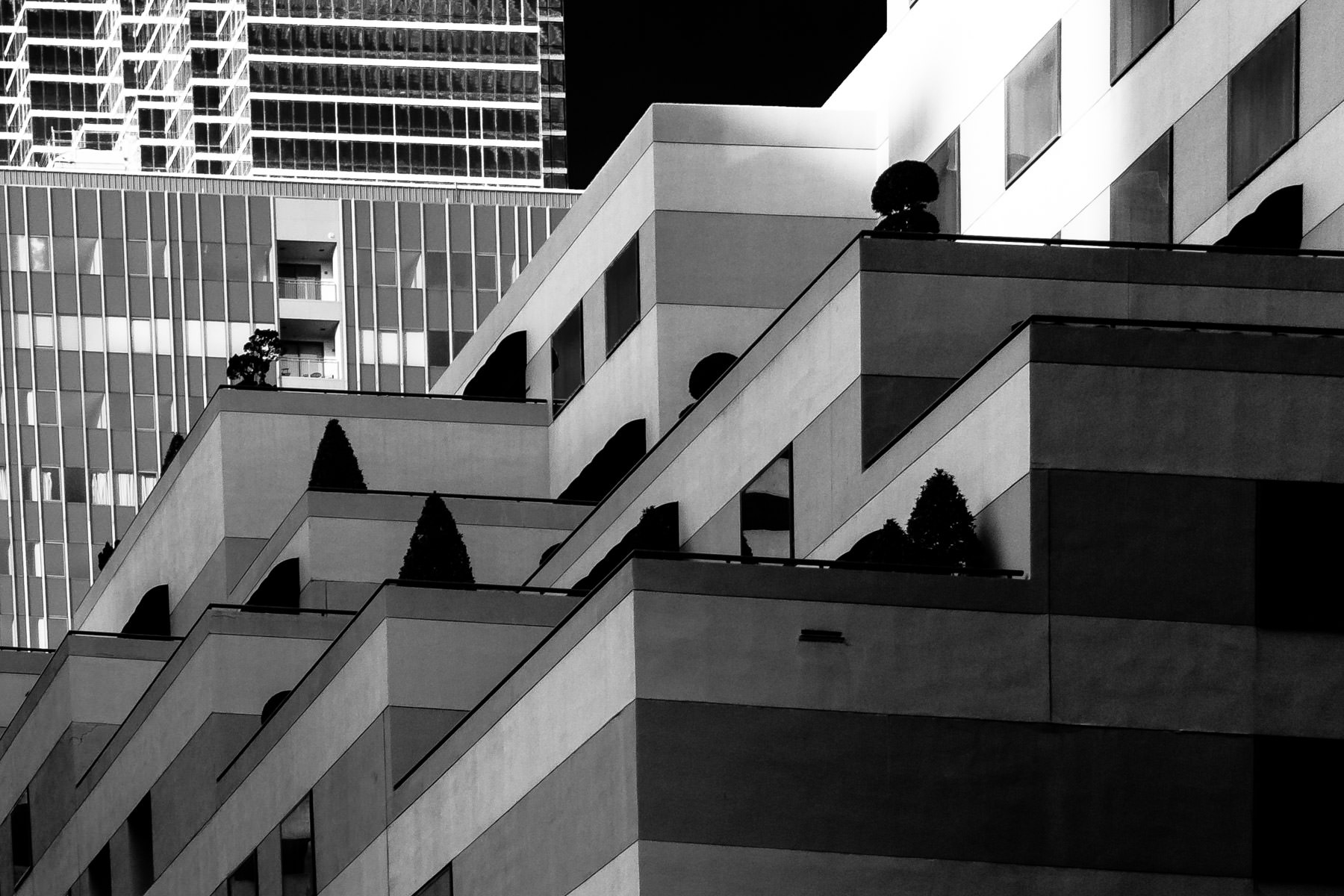 Balconies on a building in Downtown Dallas.