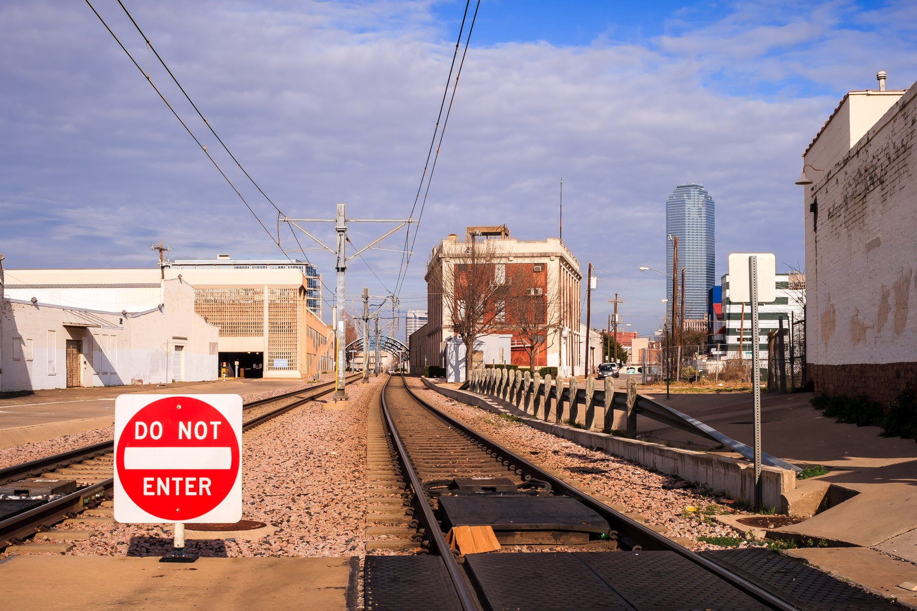 DART Light Rail tracks in The Cedars, Dallas.