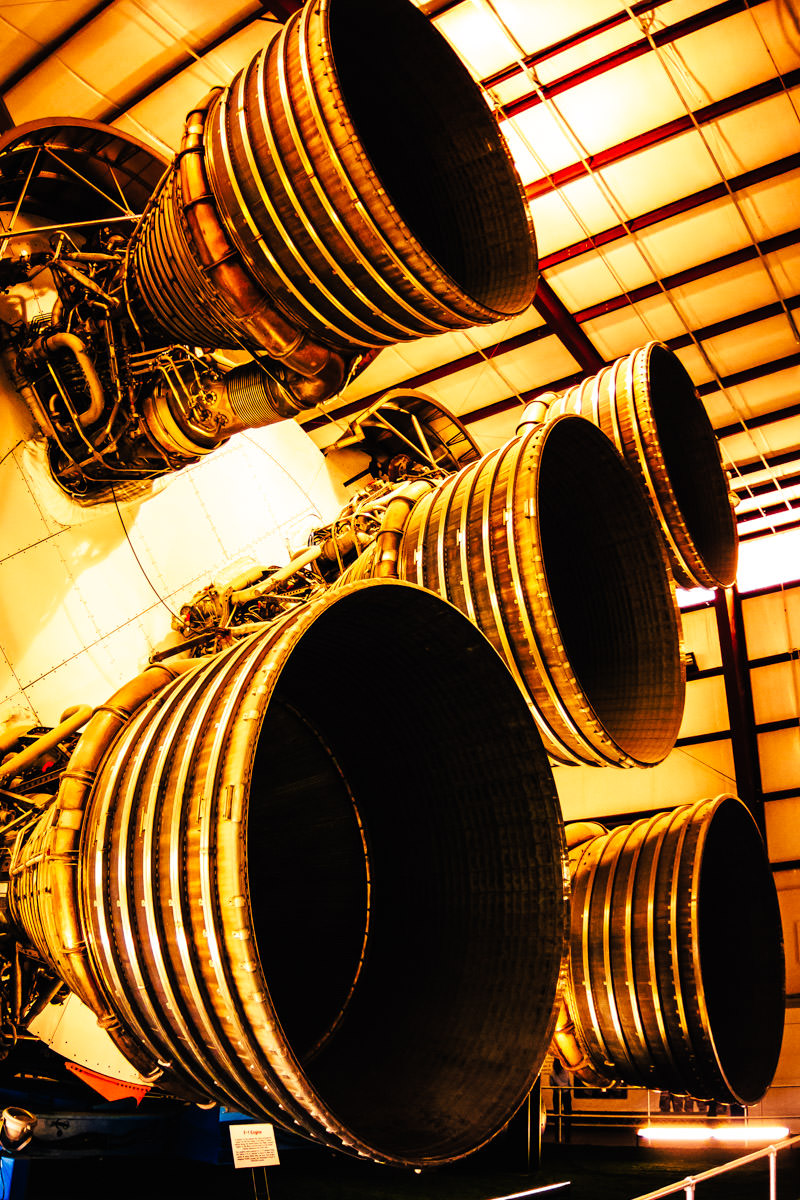 Rocket engines on a Saturn V at Johnson Space Center, Houston, Texas.