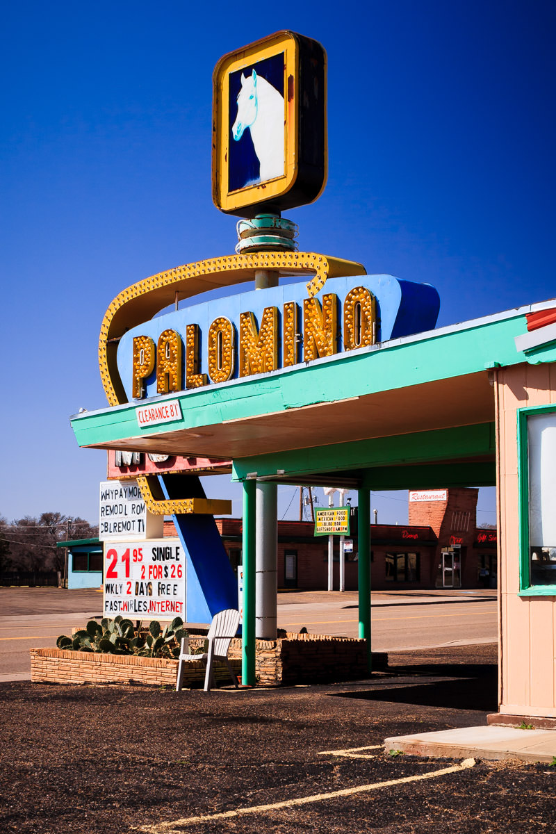 The Palamino Motel's mid-Century sign, Tucumcari, New Mexico.