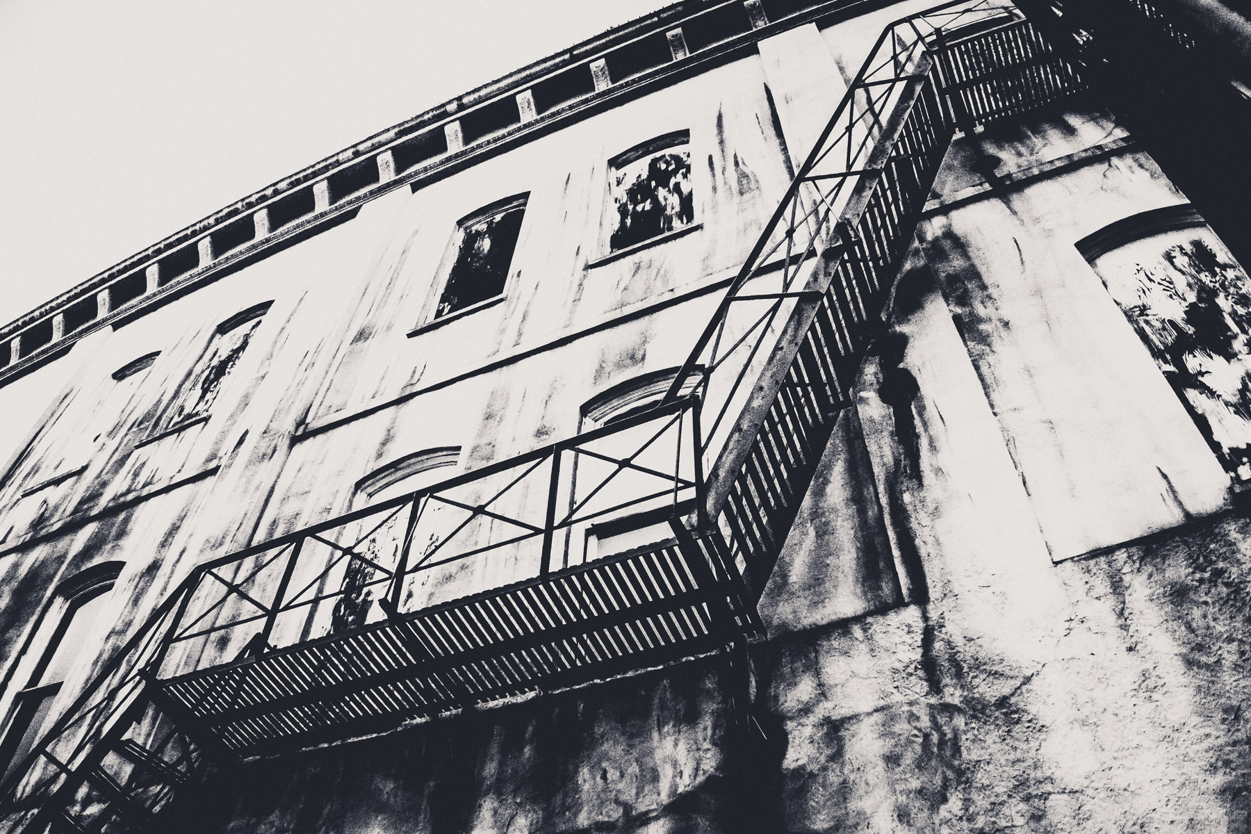 A fire escape on the side of an old building in Downtown Marshall, Texas.