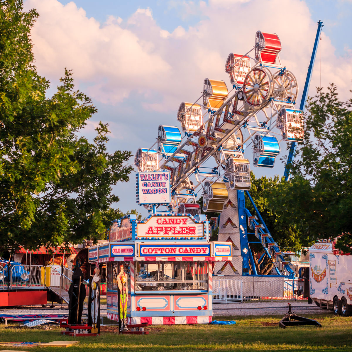 Carnival rides and concession stands being set up for Taste Addison.