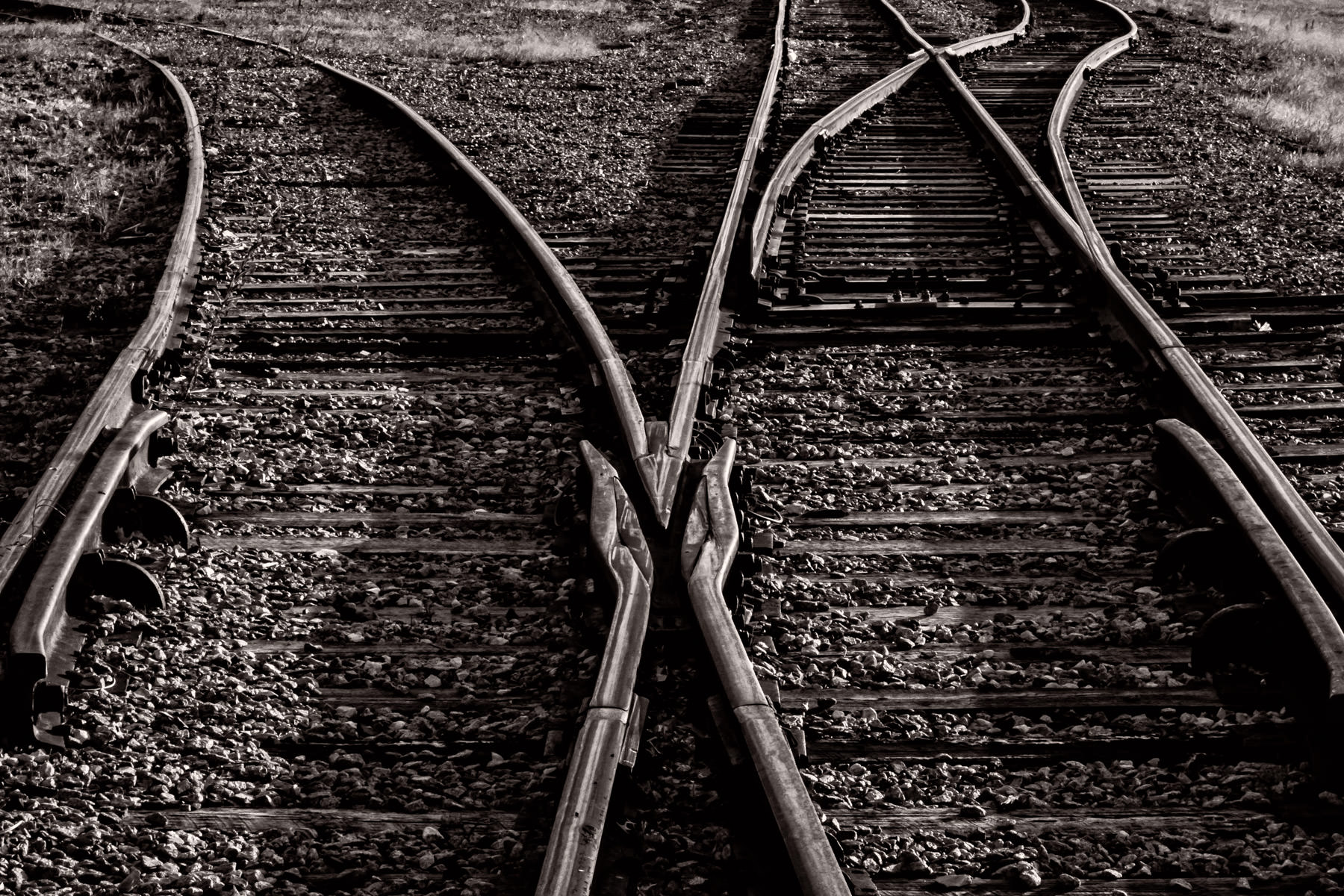 Railroad tracks split to go their separate ways in Addison, Texas.