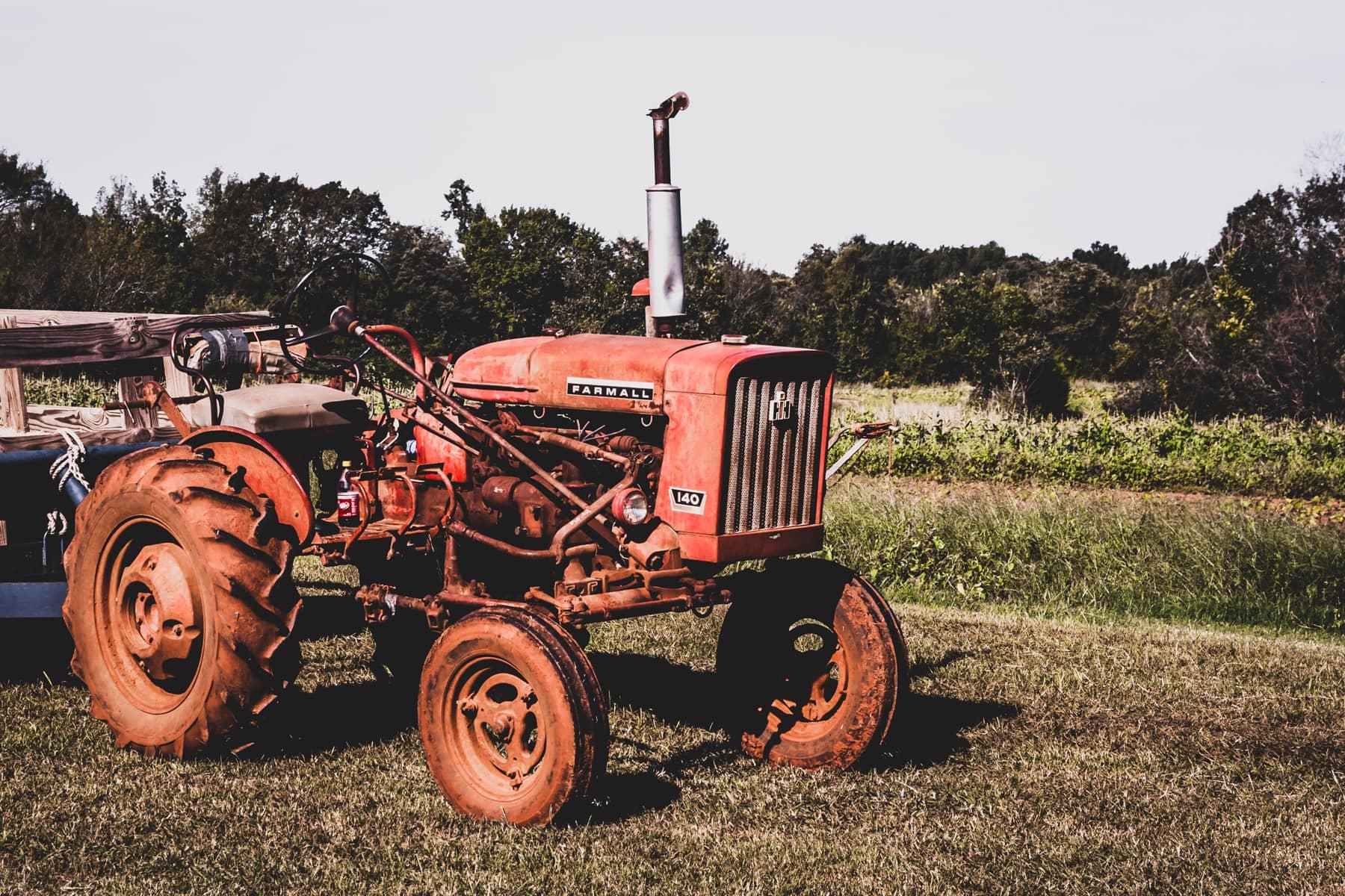 An old tractor rusts at Moore Farms, Bullard, Texas.