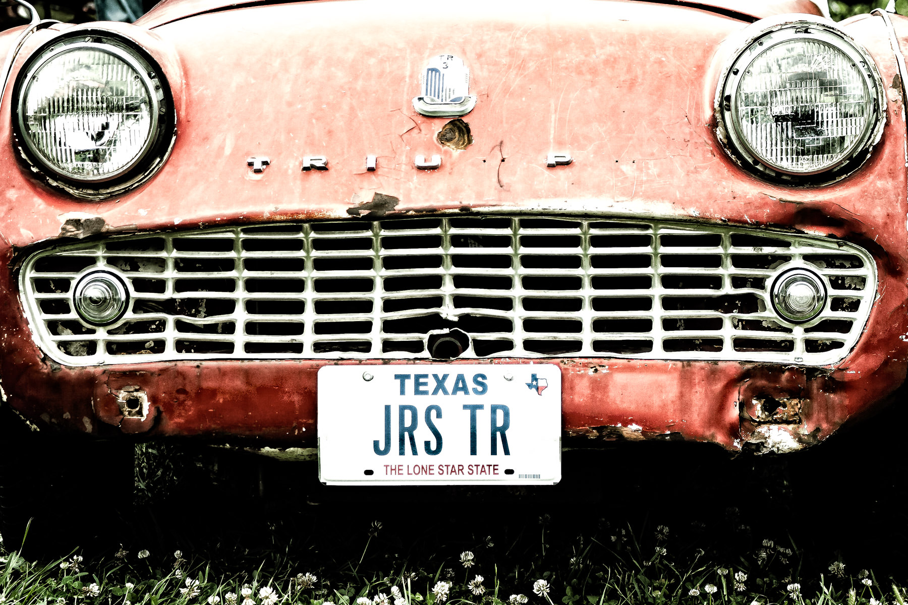 A battered Triumph TR3 at Dallas' All British and European Car Day.