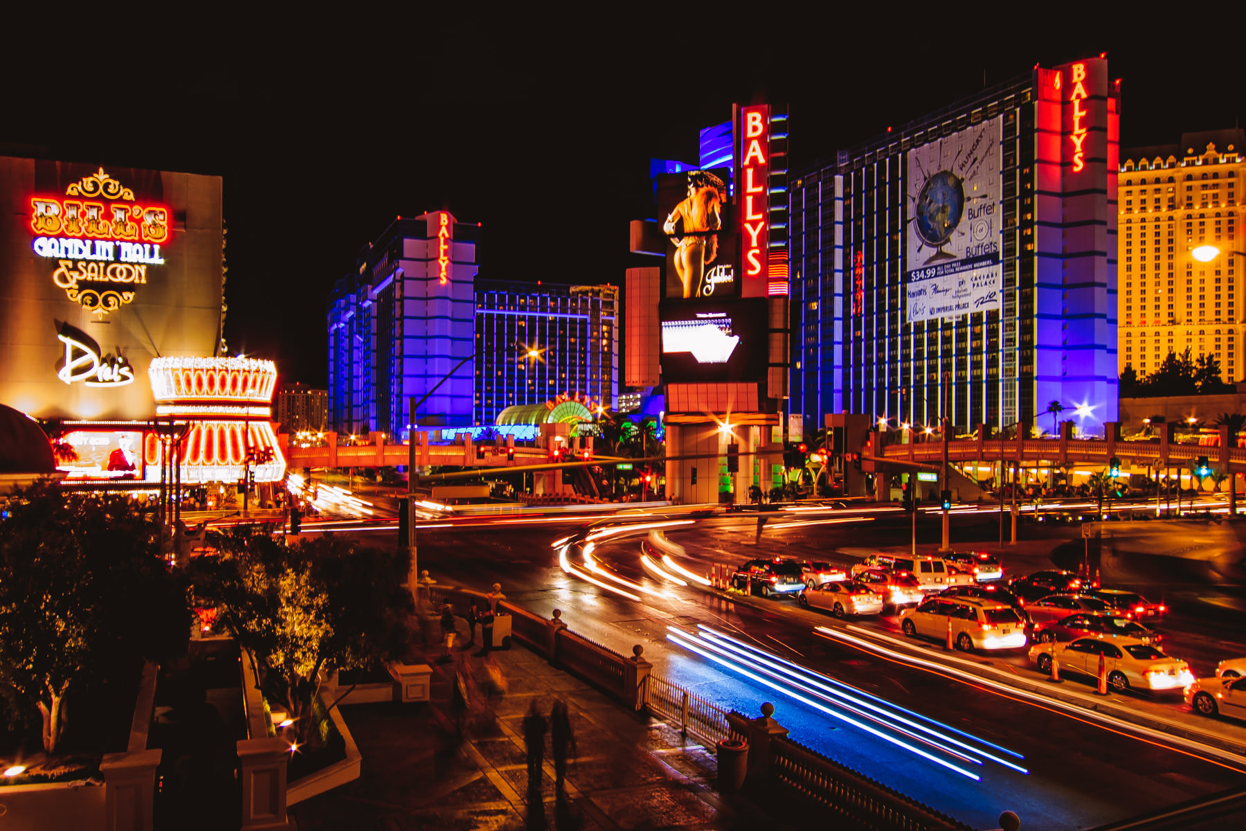The intersection of Las Vegas Boulevard (The Strip) and Flamingo Road.