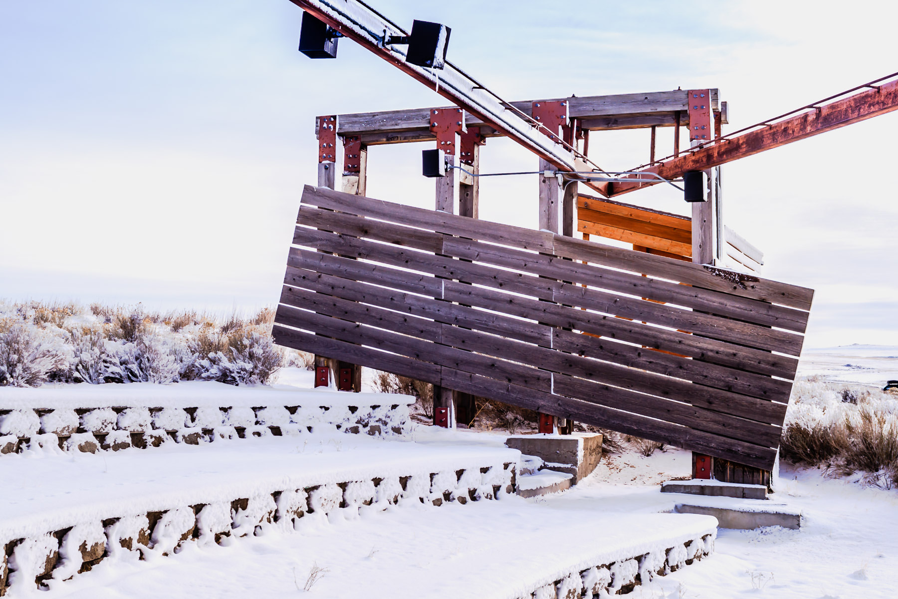 A wooden structure at Utah's Antelope Island State Park.