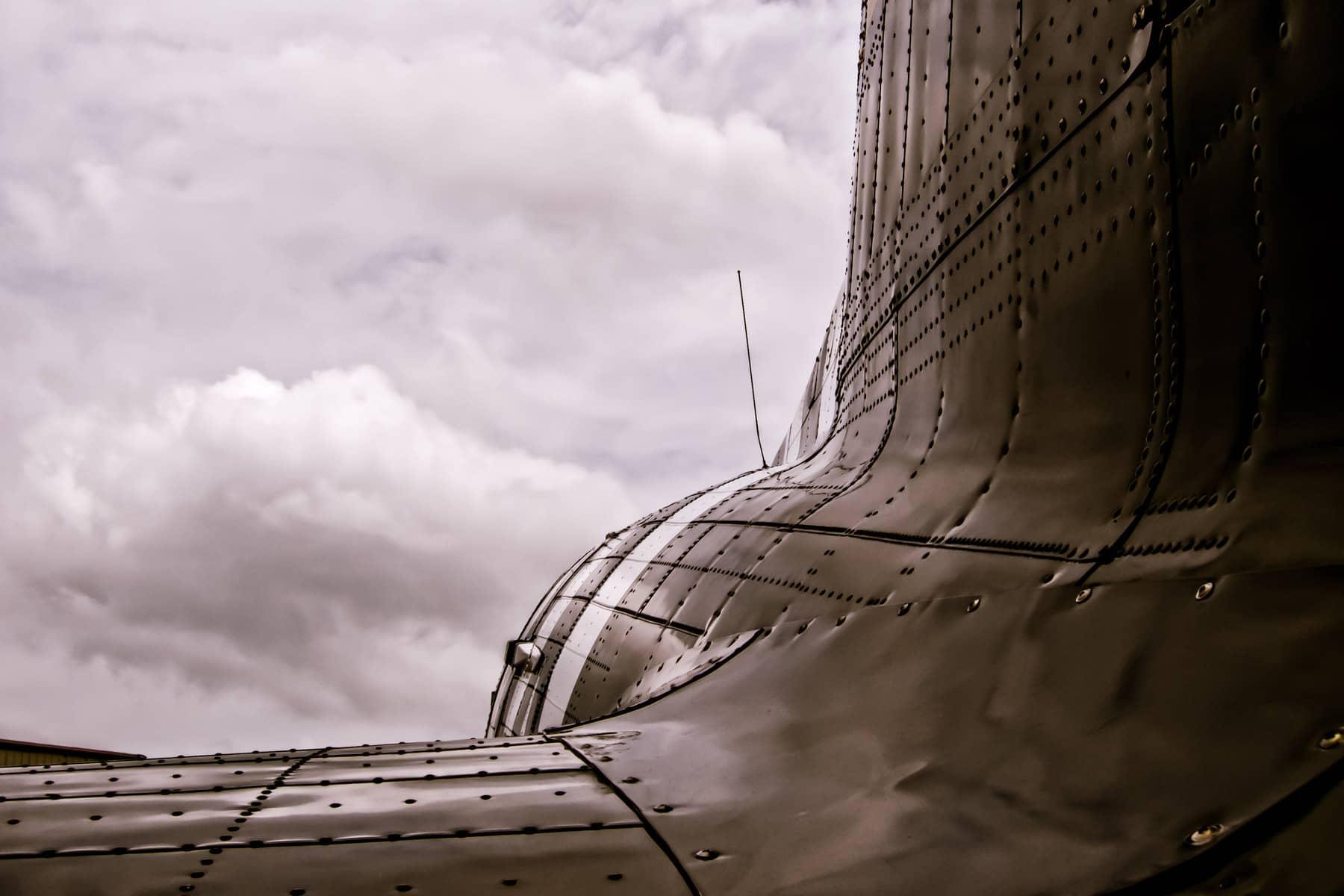 The fuselage of a Douglas C-47 Skytrain at the Cavanaugh Flight Museum, Addison, Texas.