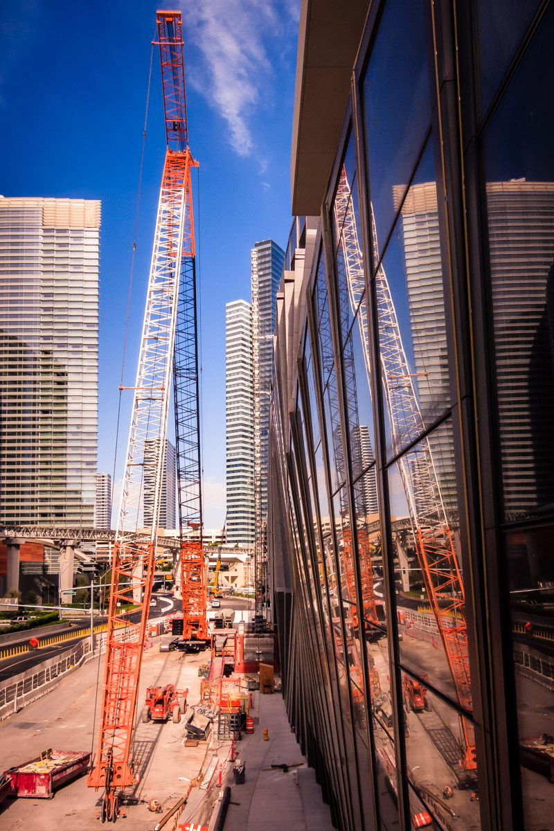 A crane outside of Las Vegas' CityCenter assists with construction outside of the nearly-complete Cosmopolitan of Las Vegas.