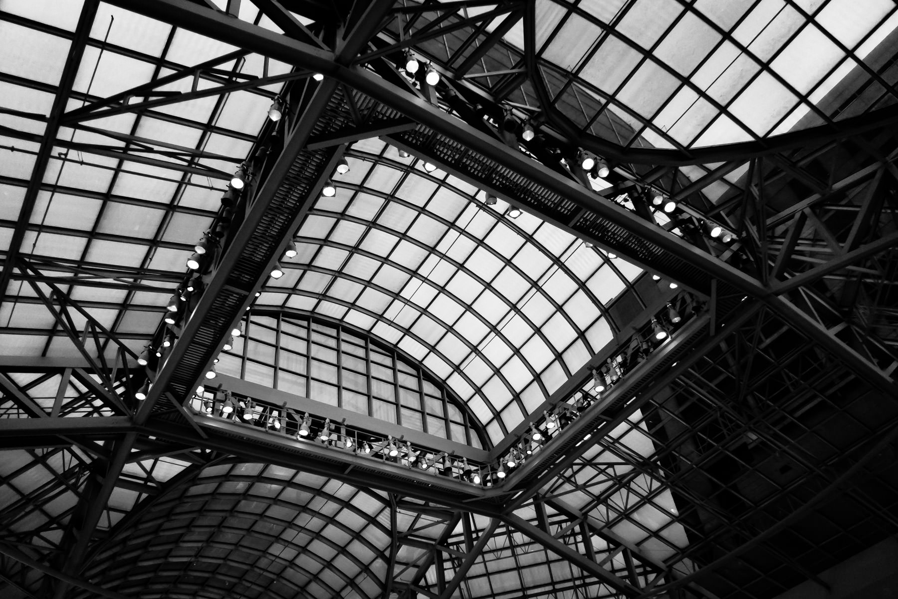 The intricate glass roof of the Dallas Galleria.