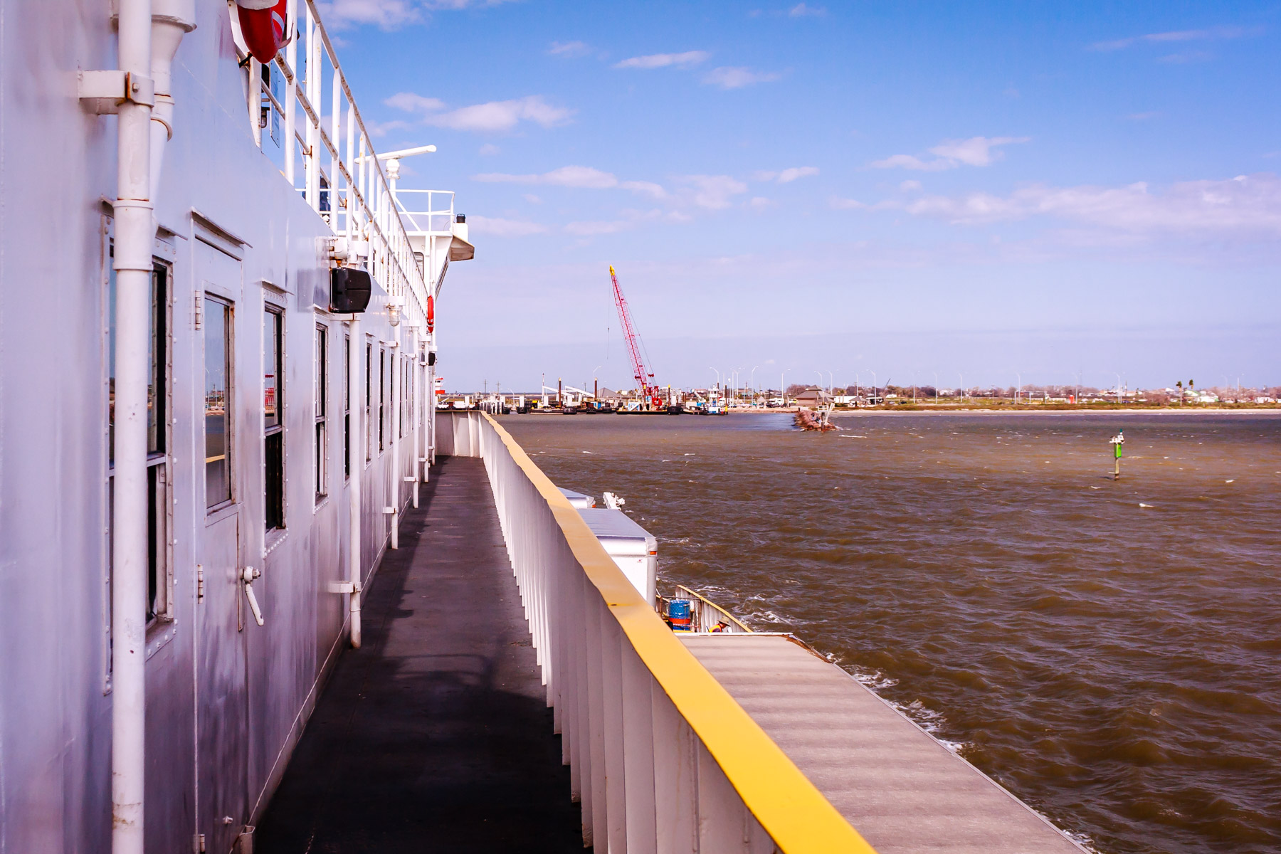 The Galveston-Port Bolivar ferry prepares to dock in Galveston.