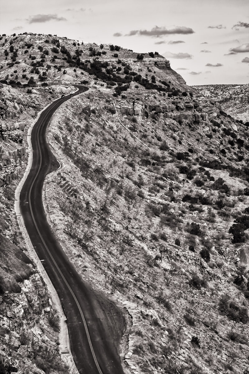 A road leading to the bottom of Texas' Palo Duro Canyon.
