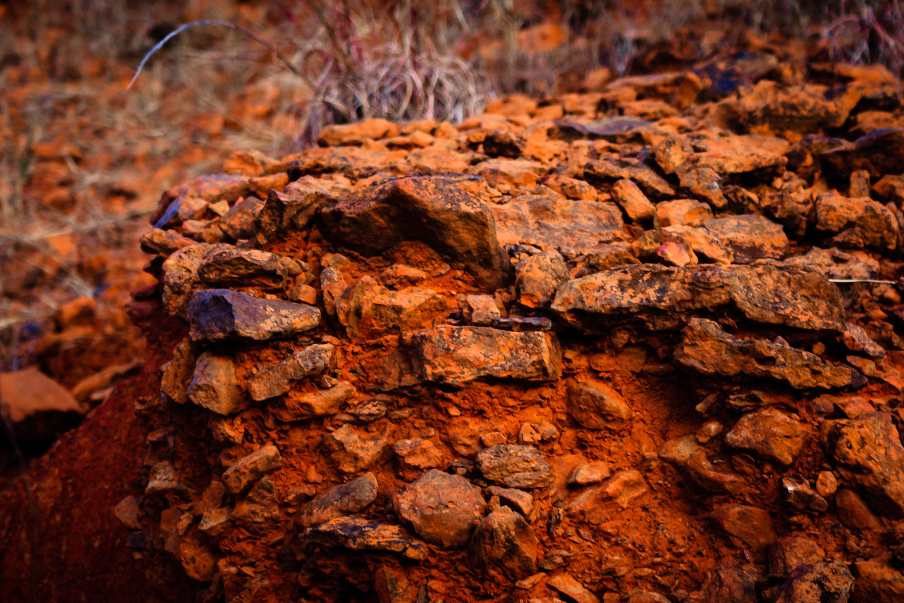 Red clay and rocks at a construction site in Tyler, Texas.