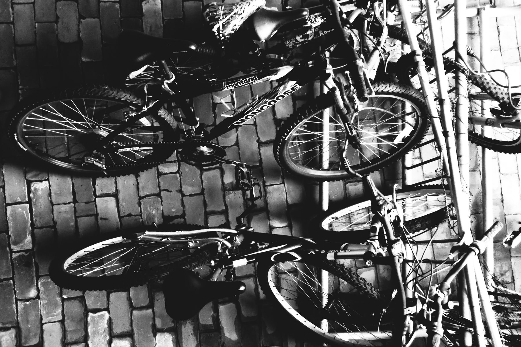 Bikes parked in a stairwell of a residential building in Addison, Texas.