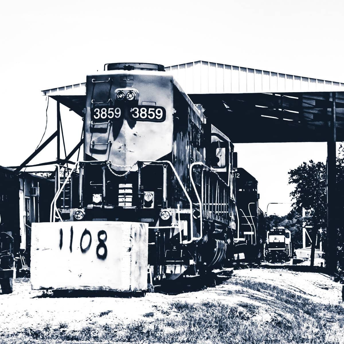 A locomotive on a rail siding in Carrollton, Texas.