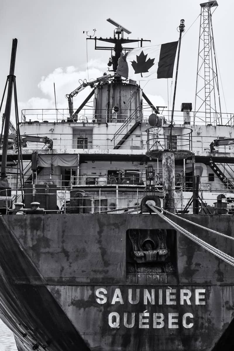 A ship rusts in Vieux-Port de Montréal.