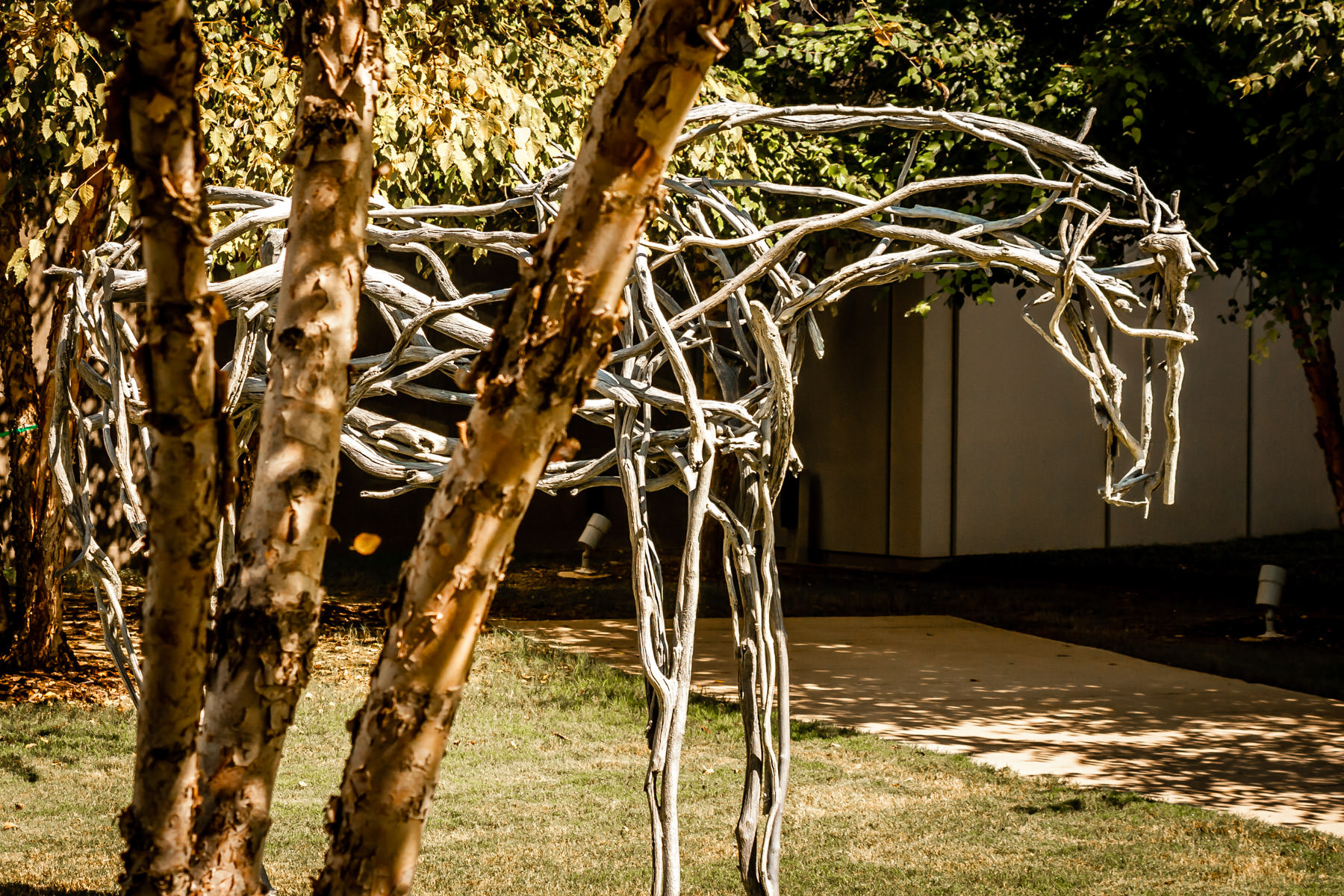 A abstract sculpture of a horse at Fort Worth, Texas' Museum of Modern Art.