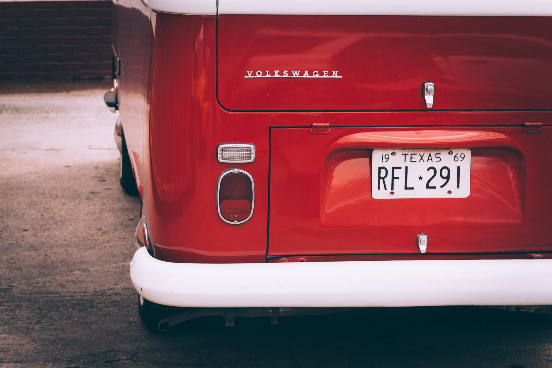 Detail of a Volkswagen Type 2 microbus spotted in Oak Cliff, Dallas, Texas.