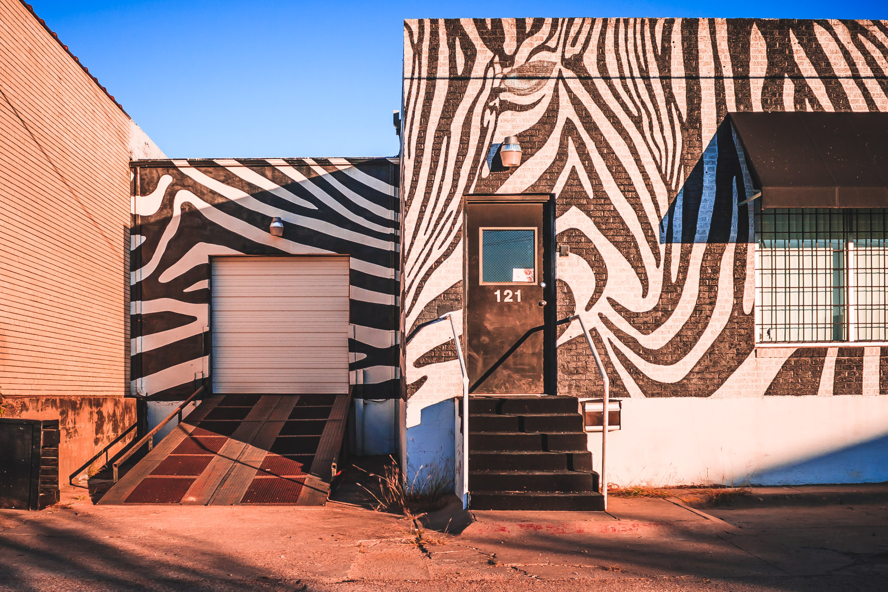 A whimsically-decorated building spotted in the Dallas Design District.