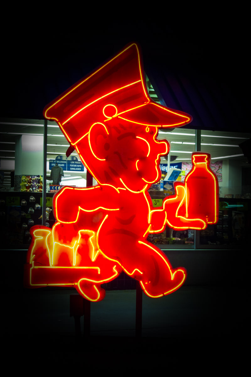 A neon sign of a milkman in Downtown Las Vegas.
