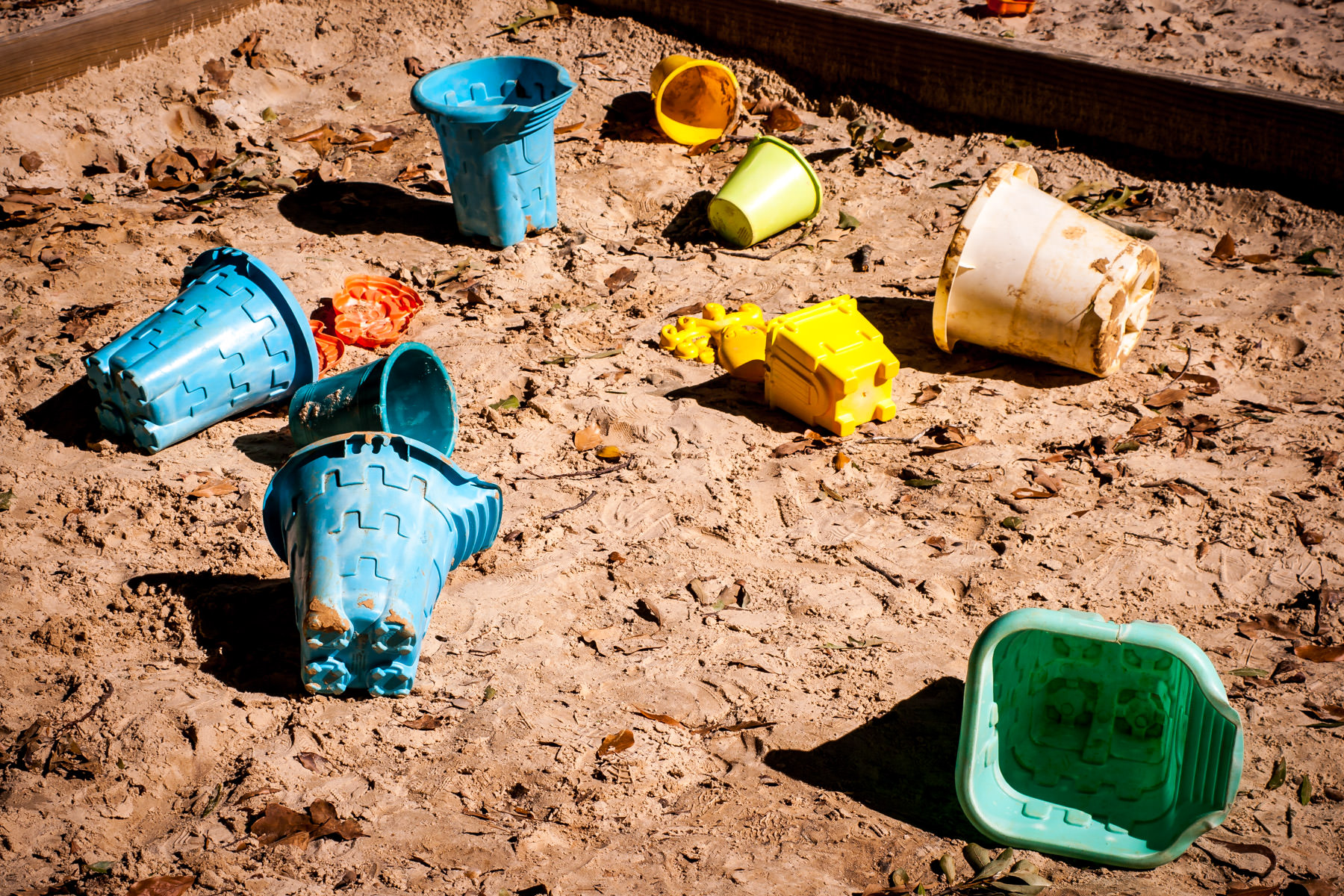 Sandcastle-making implements in a playground at Caldwell Zoo, Tyler, Texas.
