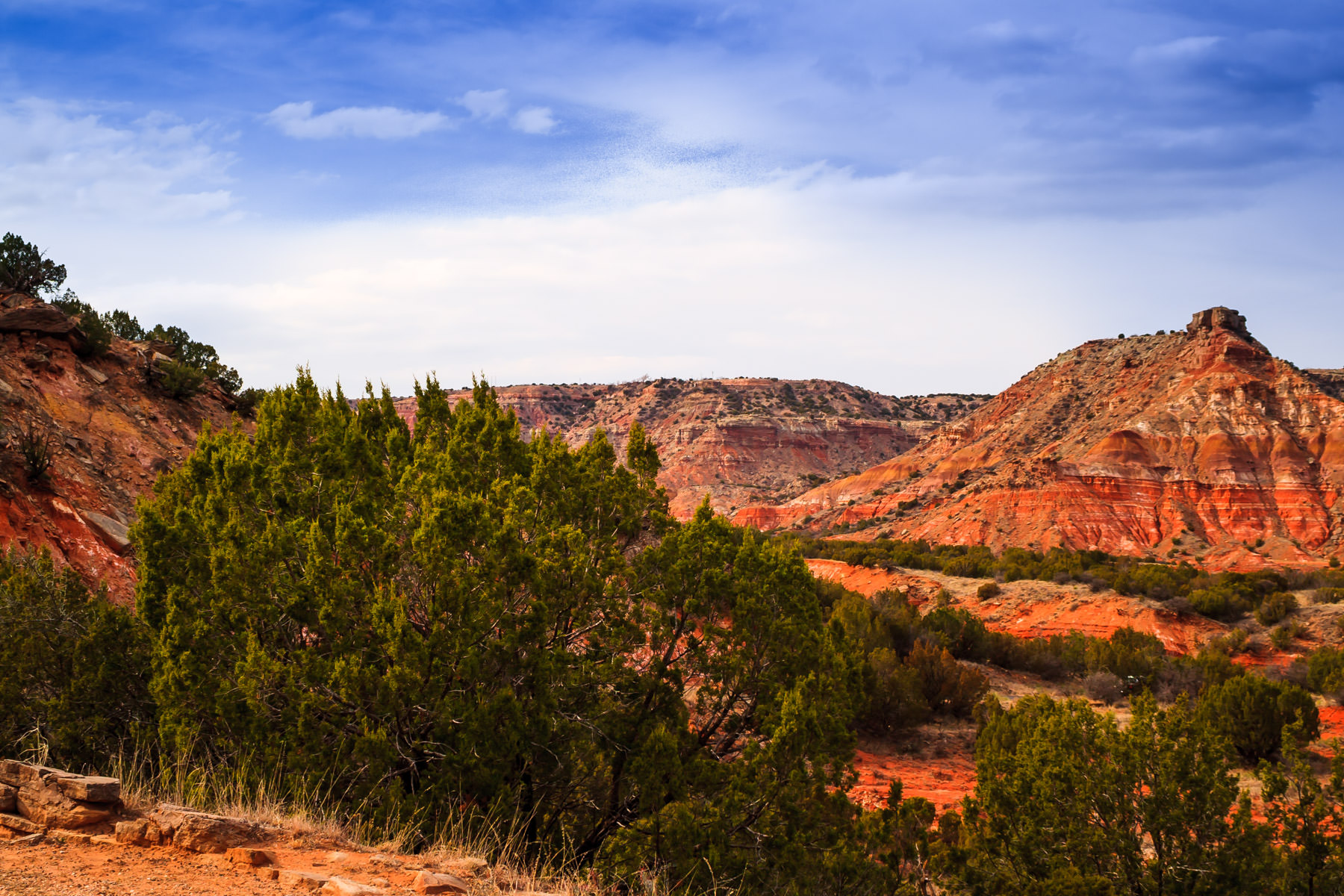 The rugged landscape of Palo Duro Canyon, Texas.