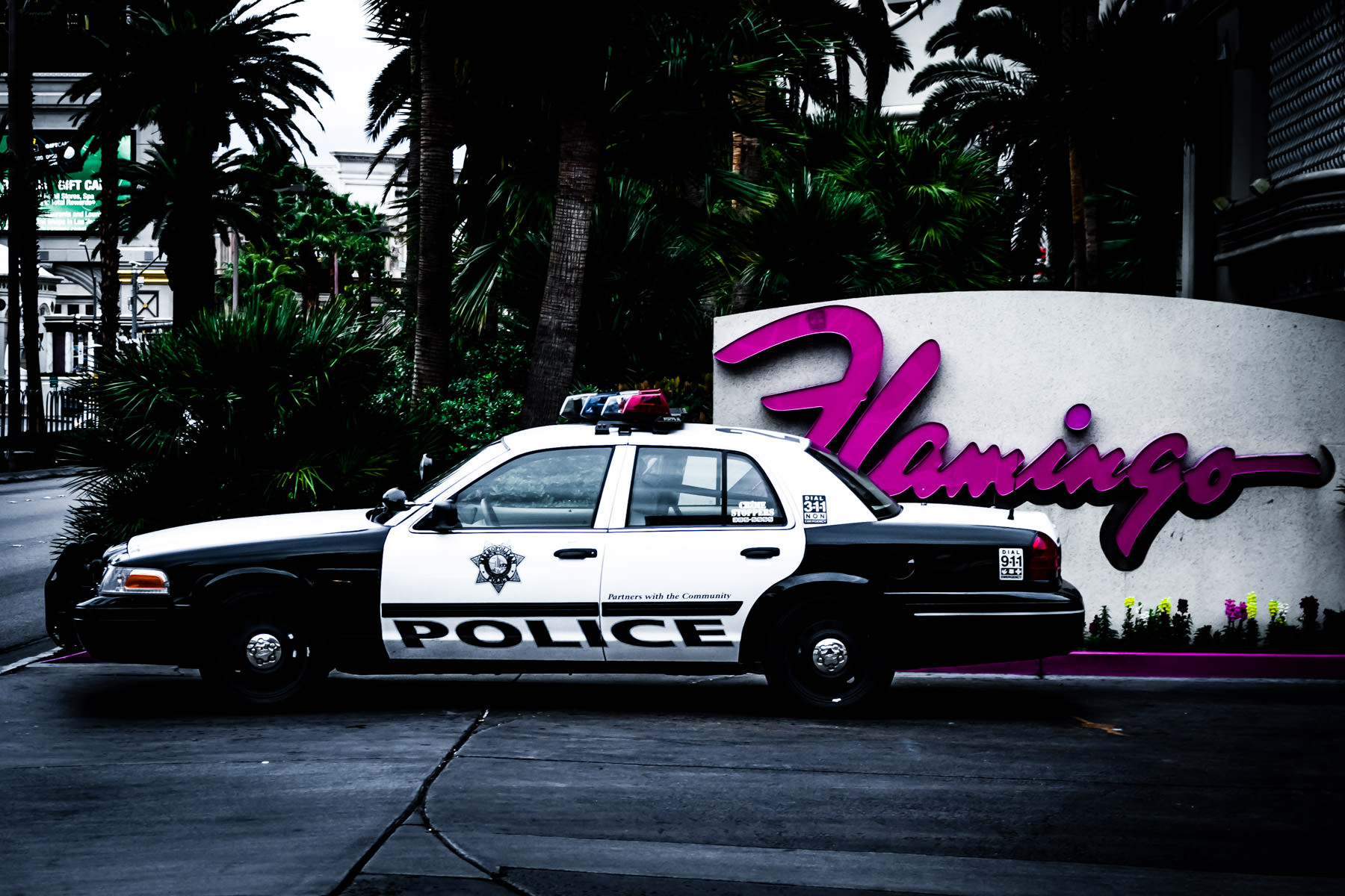 A cop car parked outside of the Flamingo Hotel and Casino, Las Vegas.