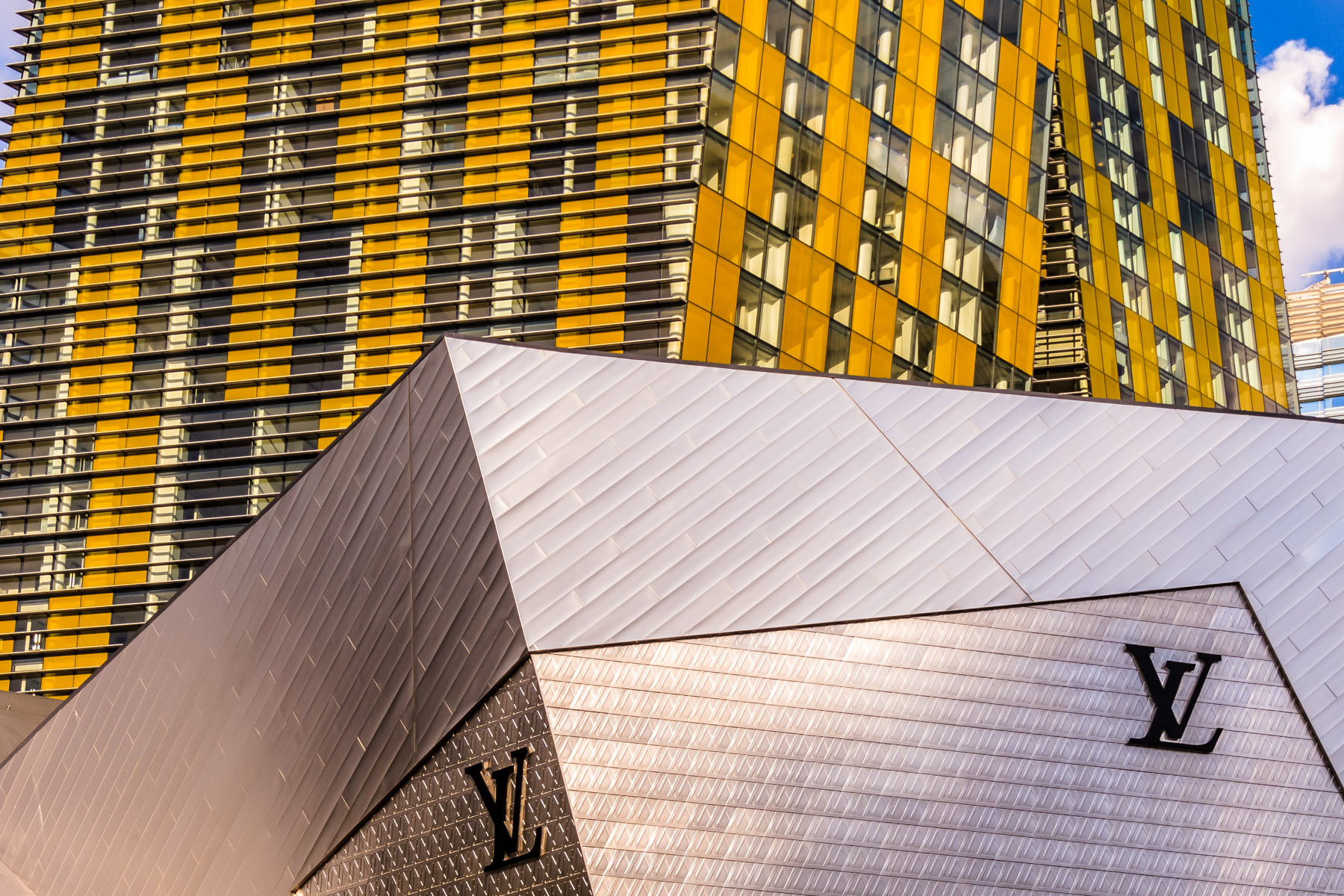The Veer Towers loom over Louis Vuitton at The Crystals at CityCenter, Las Vegas, Nevada.