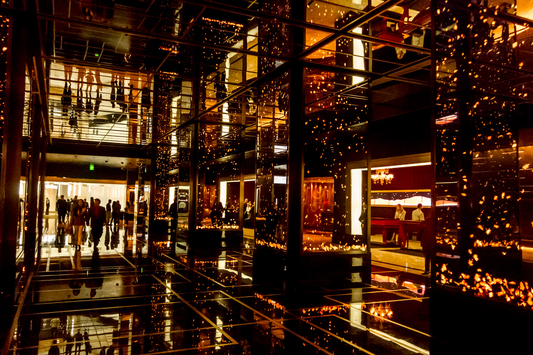 Video screens displaying ambient, dynamic art grace the front desk area of The Cosmopolitan, Las Vegas.