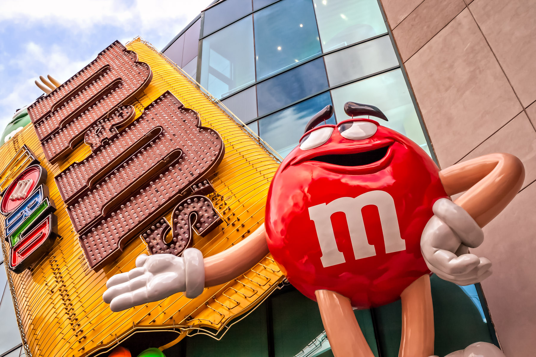 A giant anthropomorphic M&M welcomes visitors to the M&M's World in Las Vegas.