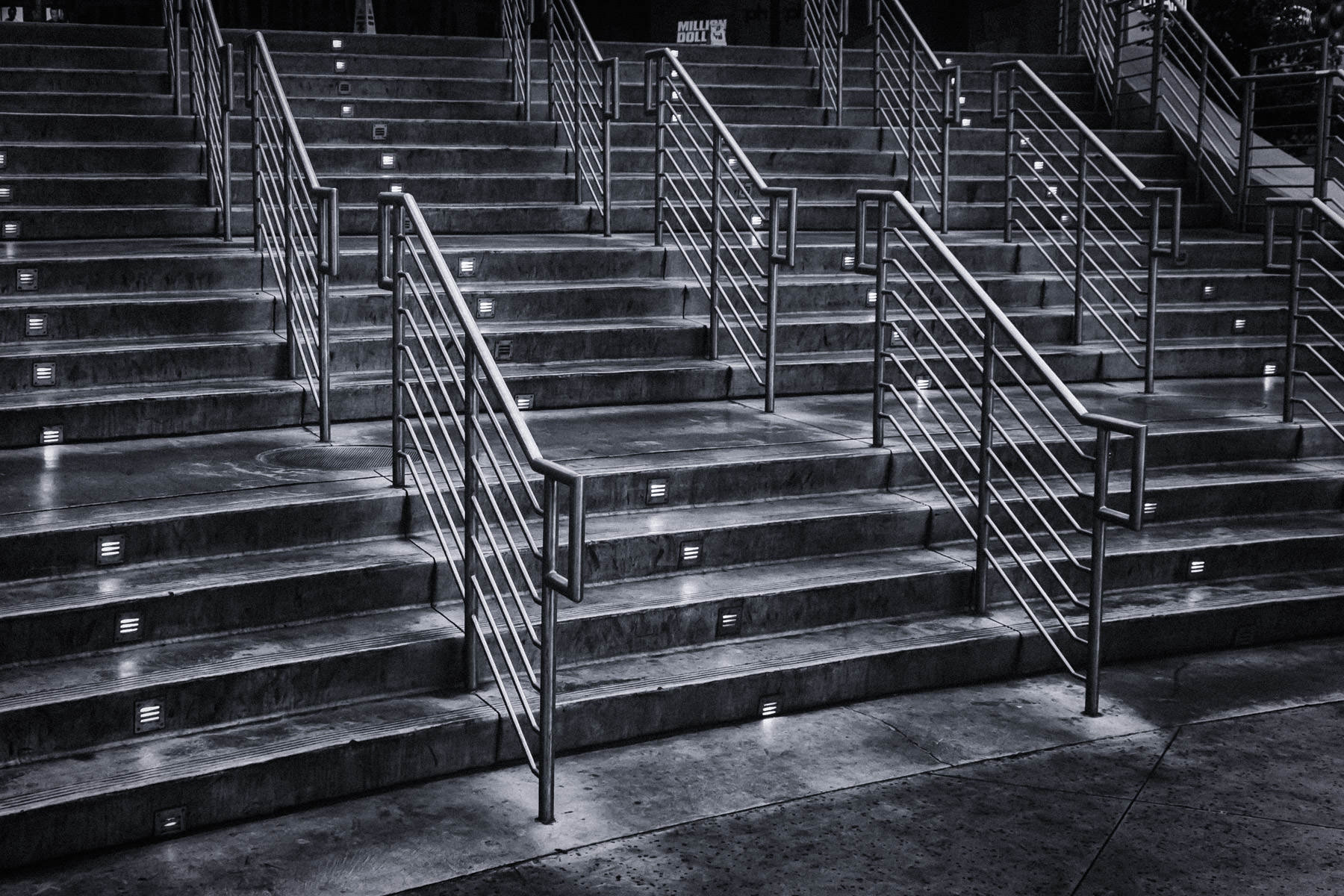 Stairs leading from street level of The Strip to Planet Hollywood Hotel and Casino, Las Vegas.