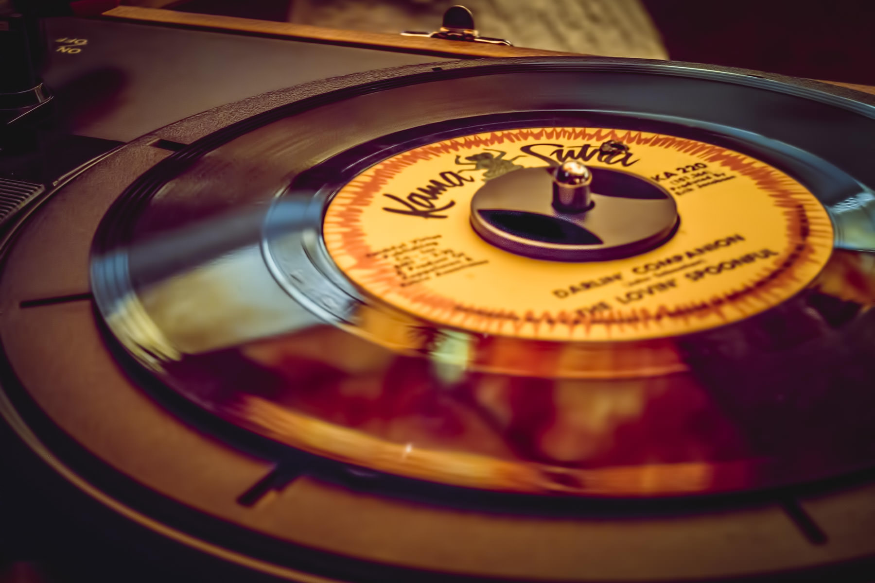 "A 45 of the Lovin' Spoonful's ""Darlin' Companion"" on a record player in a lounge at The Cosmopolitan Las Vegas."