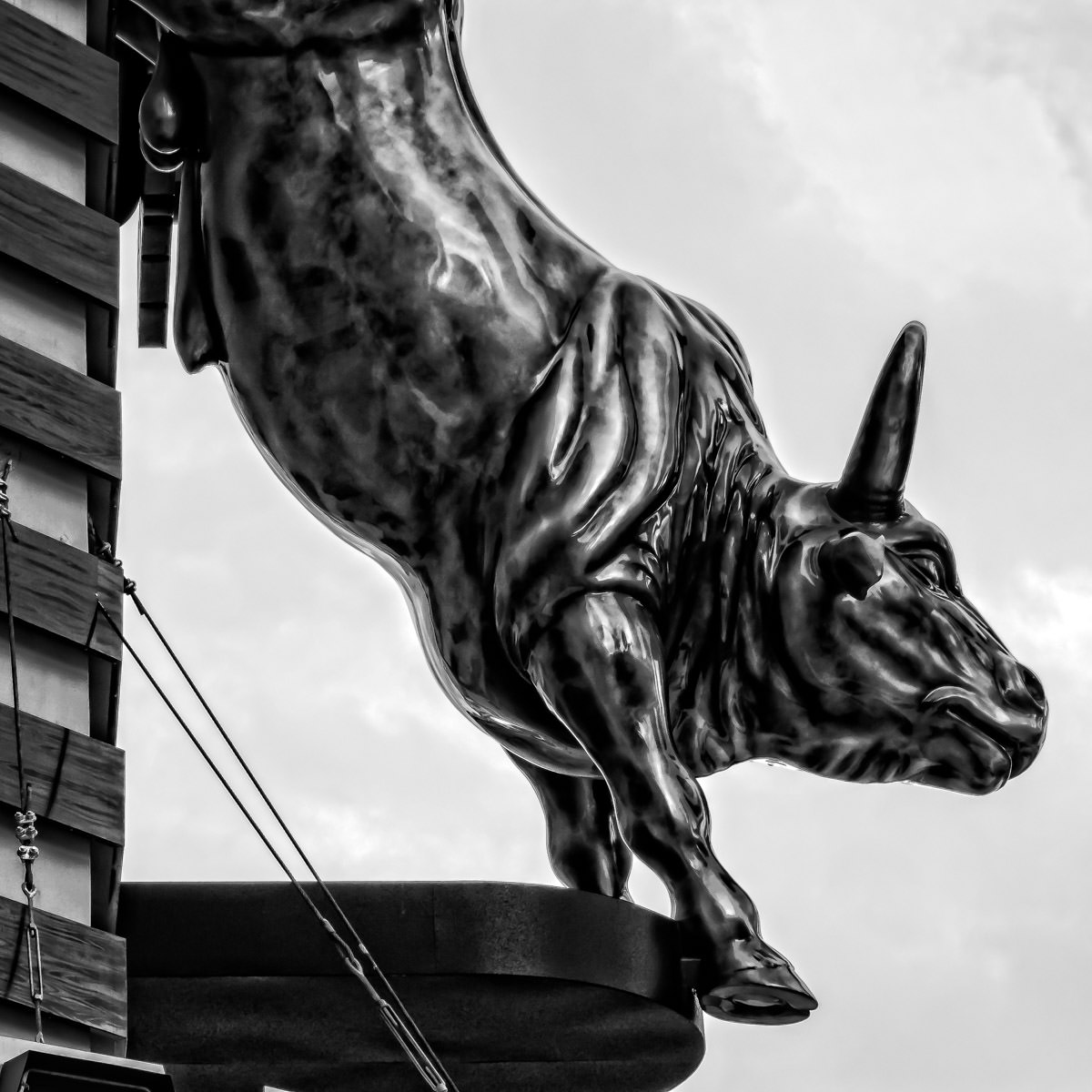 A statue of a bull on the outside of the PBR Rock Bar and Grill, Planet Hollywood Hotel and Casino, Las Vegas.