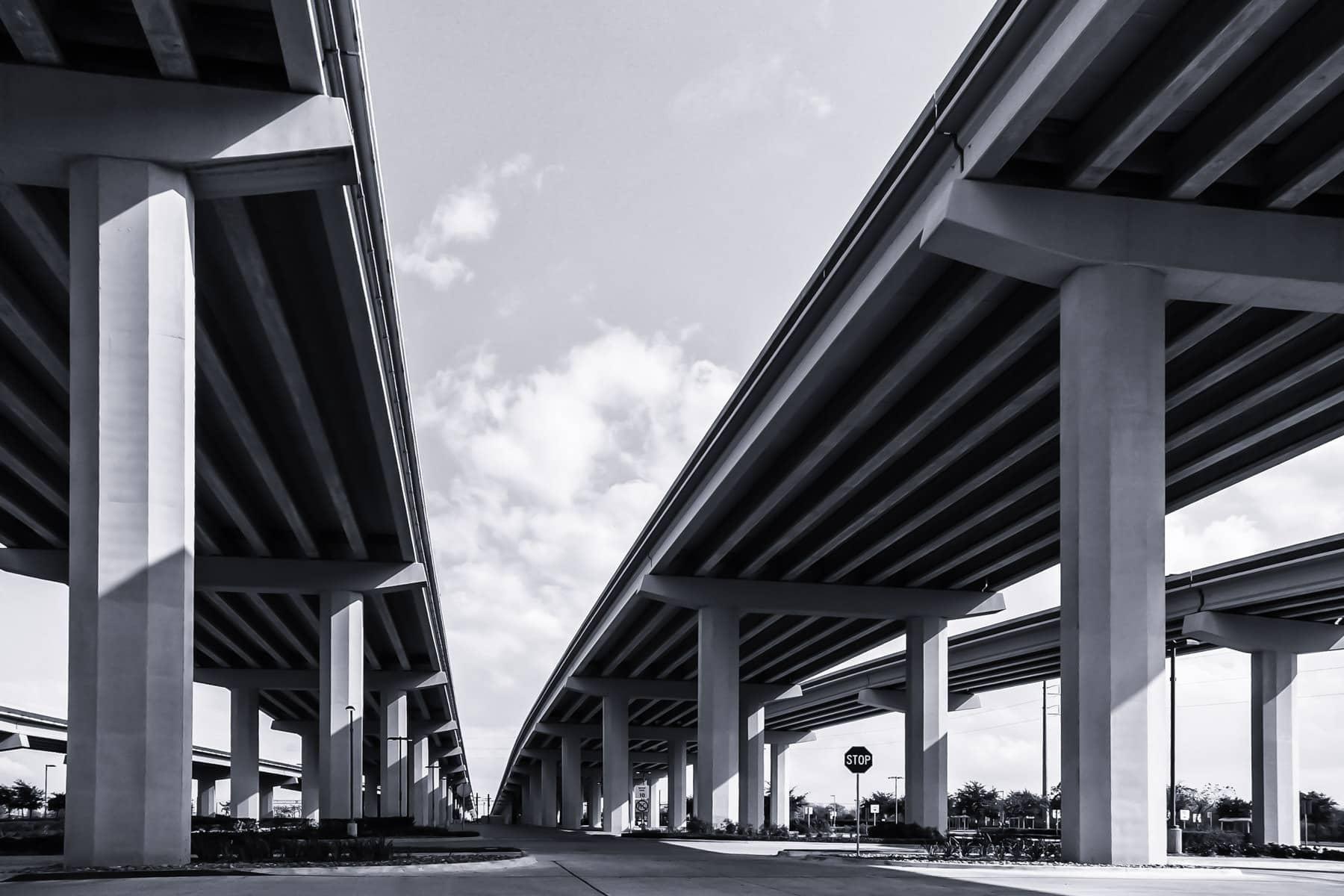 Bridges over US-75 on the President George Bush Turnpike, Plano, Texas.