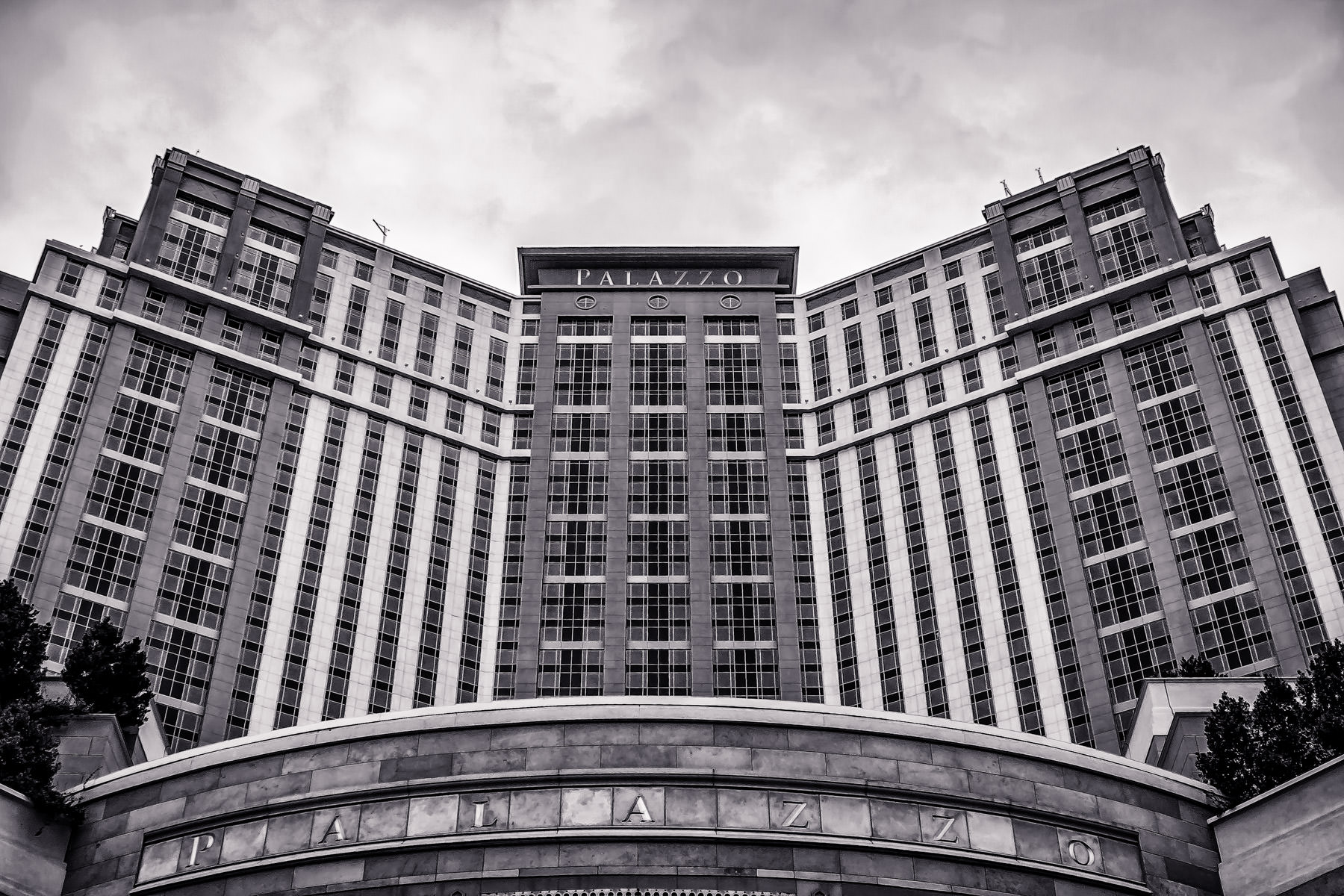 The Palazzo, sister property to The Venetian, rises into the sky over the Las Vegas Valley.