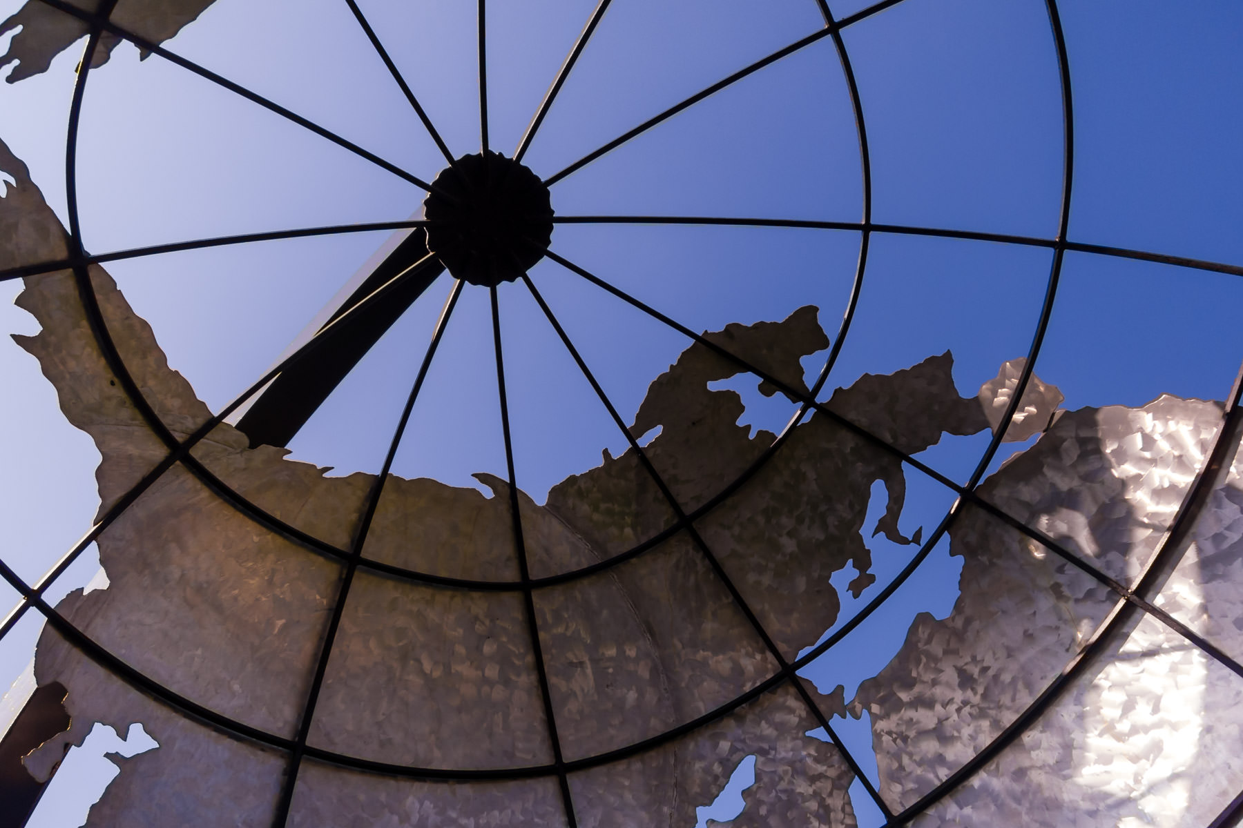 Europe, Asia and part of Africa as seen from inside a giant globe sculpture at an Addison, Texas, office building.