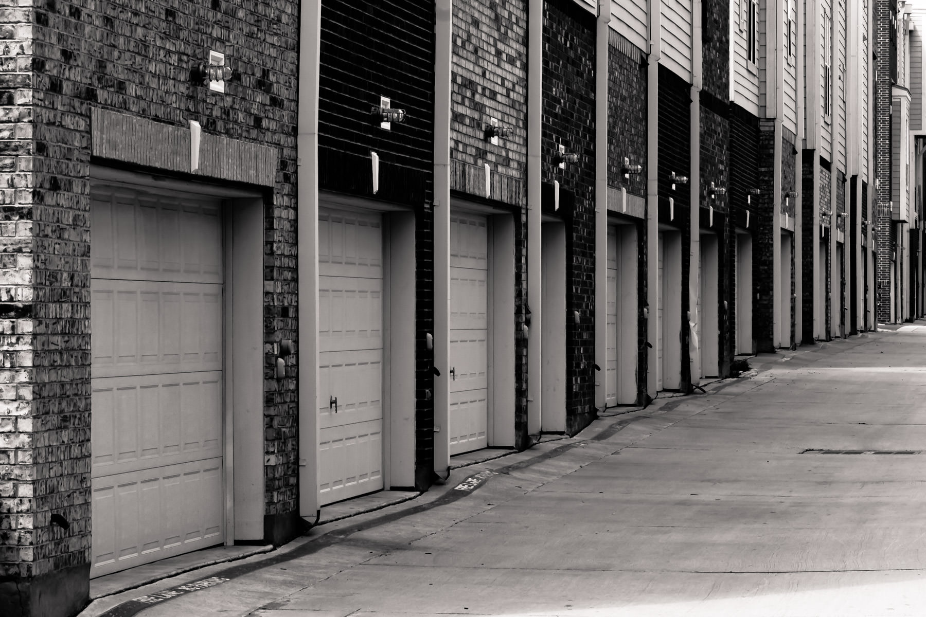 Town homes' garage doors in Addison, Texas.