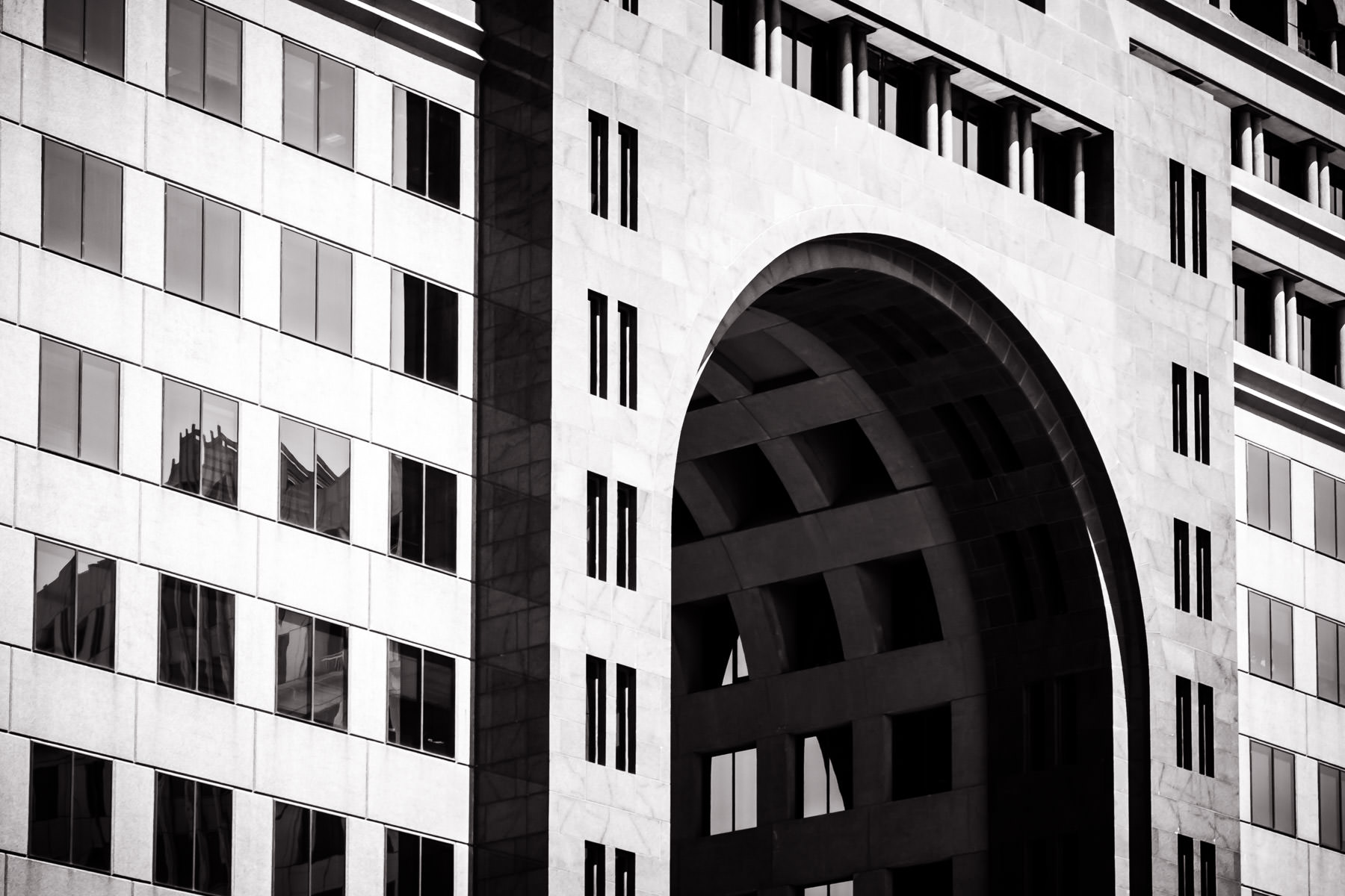 Detail of a an archway that passes through an office building in North Dallas.