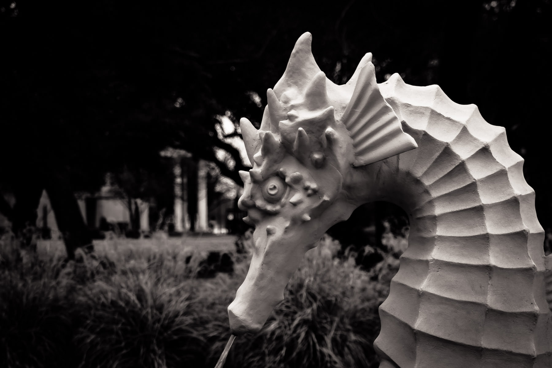 A statue of a seahorse outside the Children's Aquarium at Fair Park, Dallas, Texas.