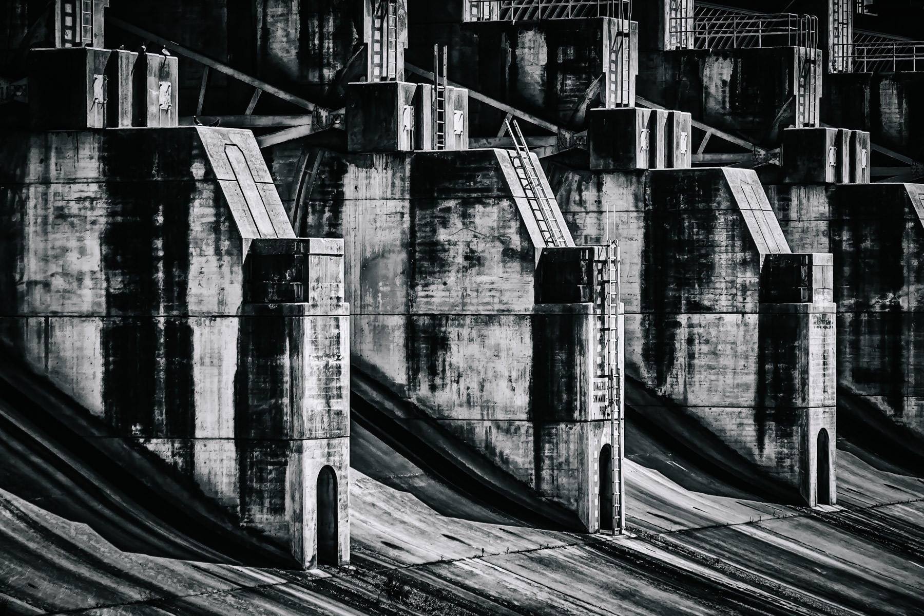 Detail of the dam that impounds Lake Lavon, Texas.
