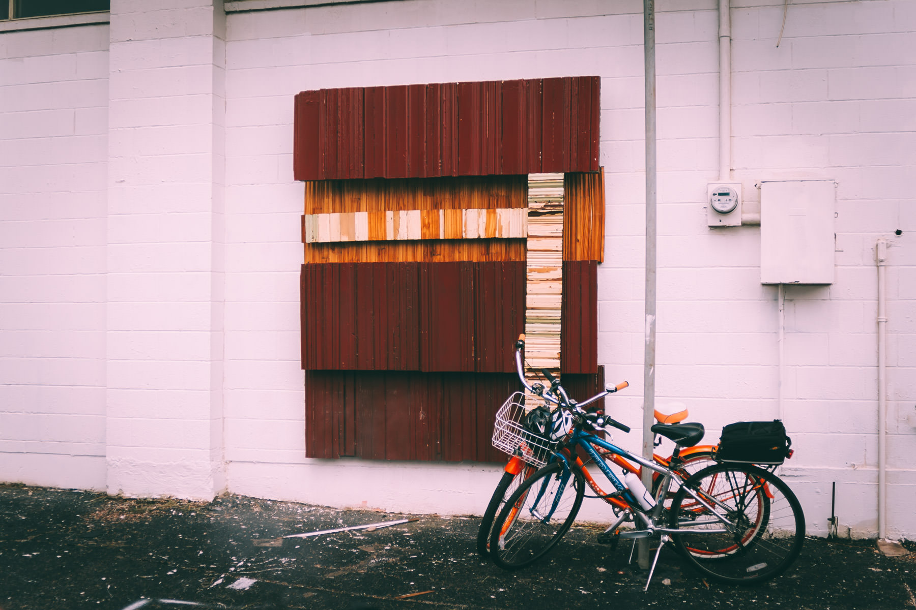 Bikes in an Oak Cliff, Dallas, alleyway.