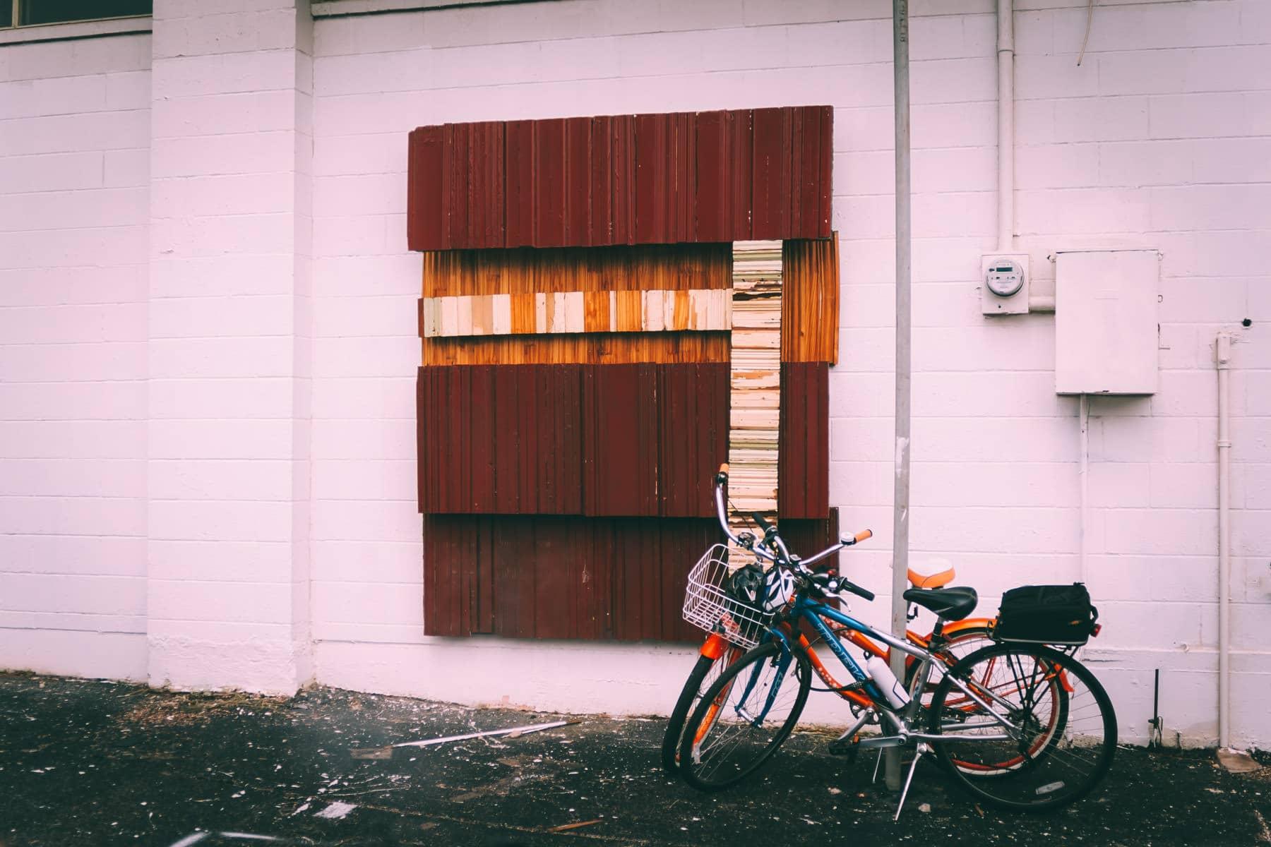 Bikes in an Oak Cliff, Dallas, alleyway.