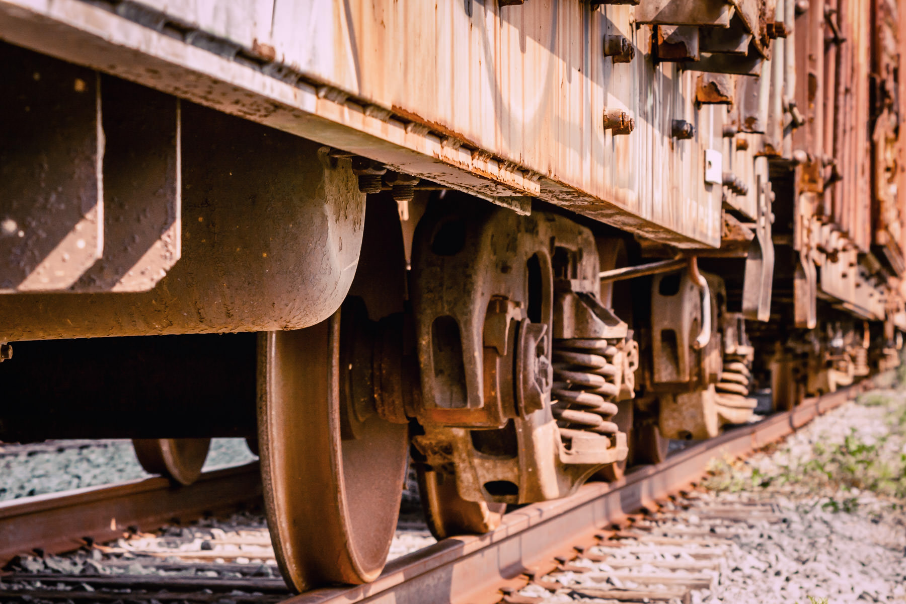 Detail of railroad cars in Farmers Branch, Texas.