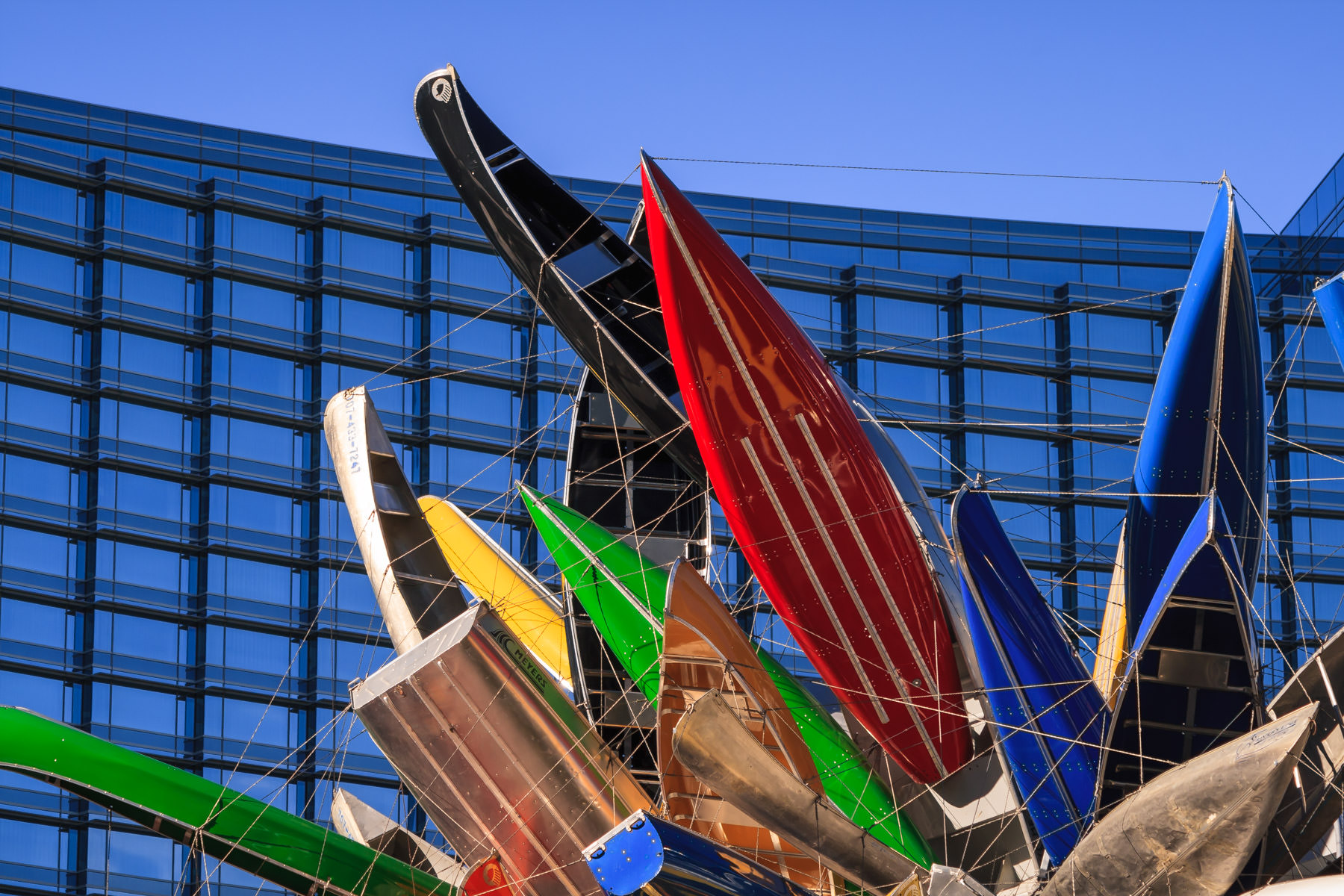 """Nancy Rubins' """"Big Edge"""" consists of 250 small boats and sits between the Vdara Hotel & Spa and the Aria, CityCenter, Las Vegas."""