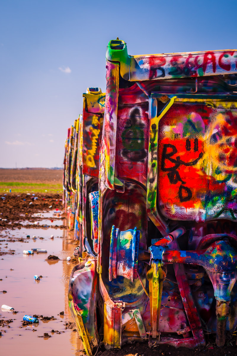 Detail of eccentric artist Stanley Marsh 3's Cadillac Ranch, Amarillo, Texas.