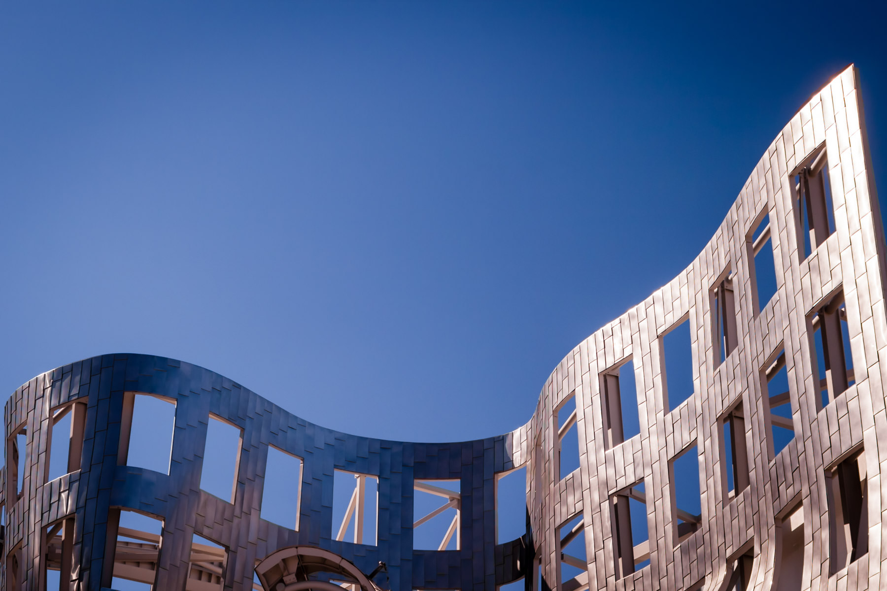 Exterior detail of the Cleveland Clinic's Frank Gehry-designed Ruvo Center for Brain Health, Las Vegas.