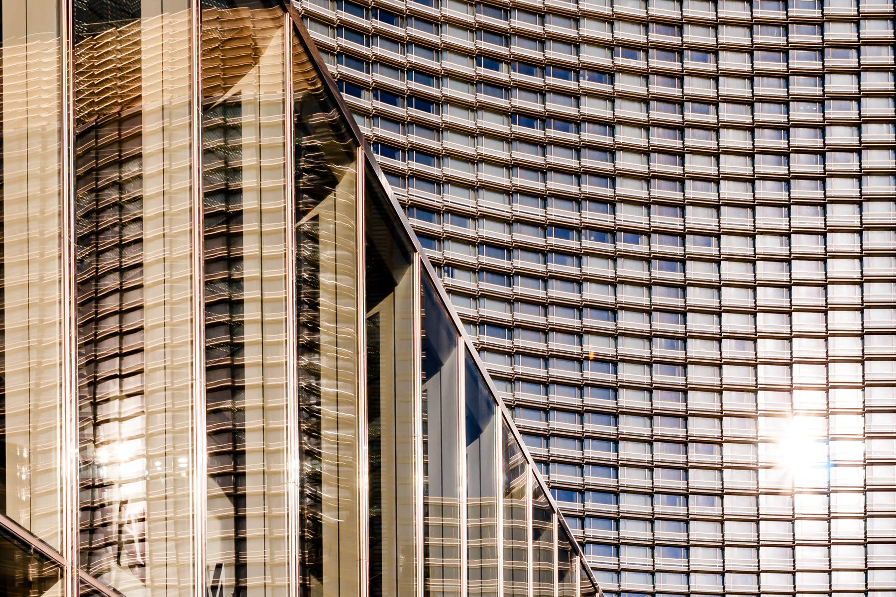 The early-morning Nevada sun reflects off the Aria, CityCenter, Las Vegas.